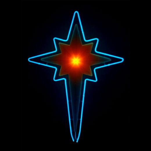 Brilliant Blue Neon Christmas Manger Star..... hand-blown designer original..... by John C. Barton - International Neon Glass Artist