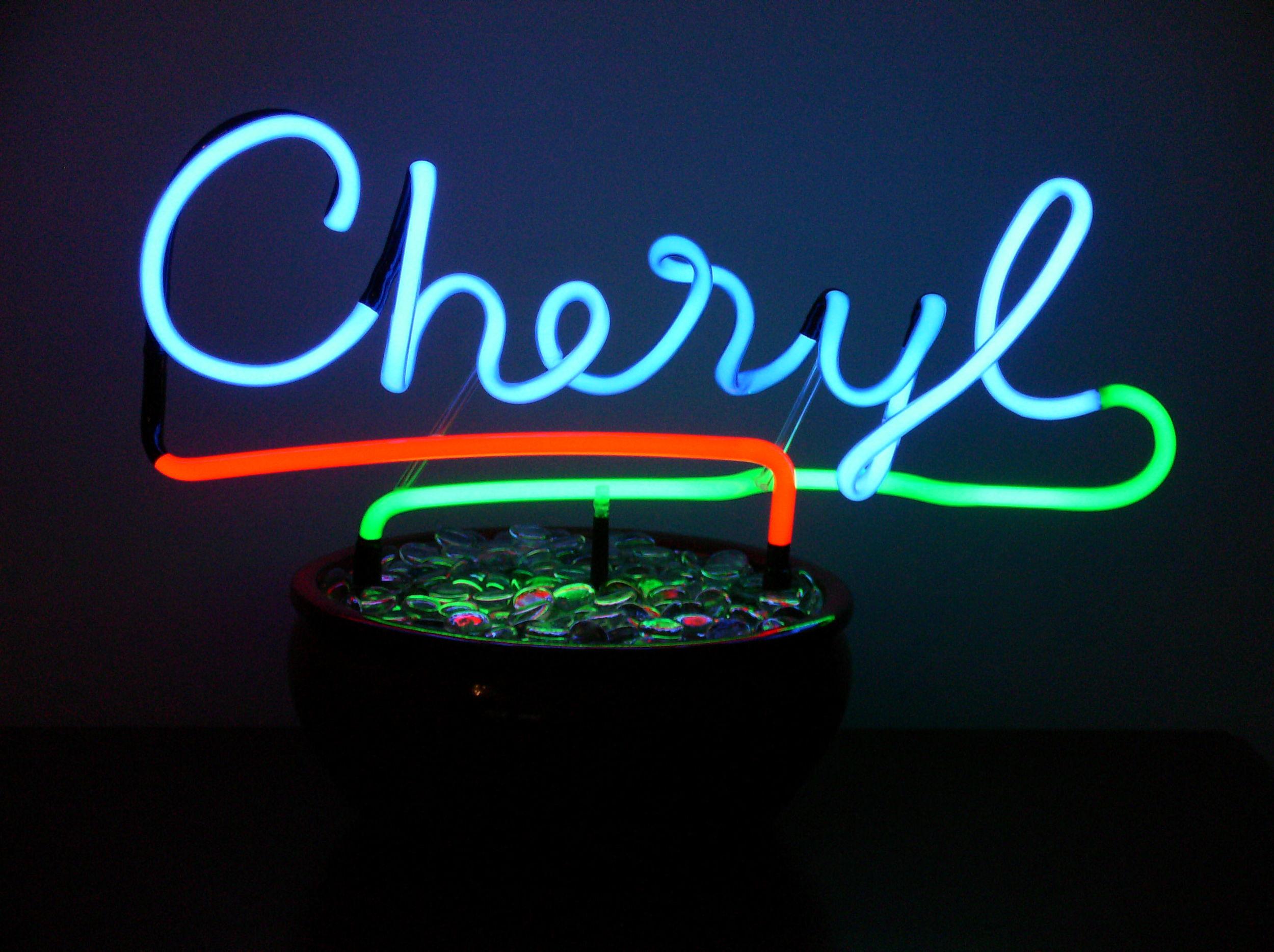 Custom hand-blown names in neon ... designer originals... by John C. Barton - acclaimed International Neon Glass Artist