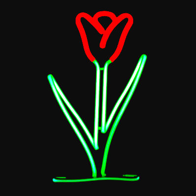 Brilliant Hand-blown Neon Tulip - direct from Neon Glass Artist