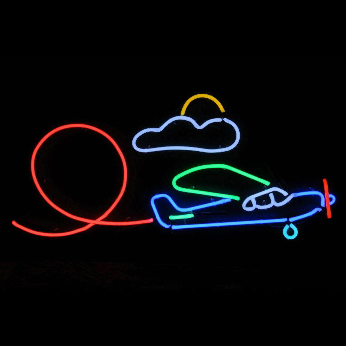 Designer Neon Airplane Sculpture