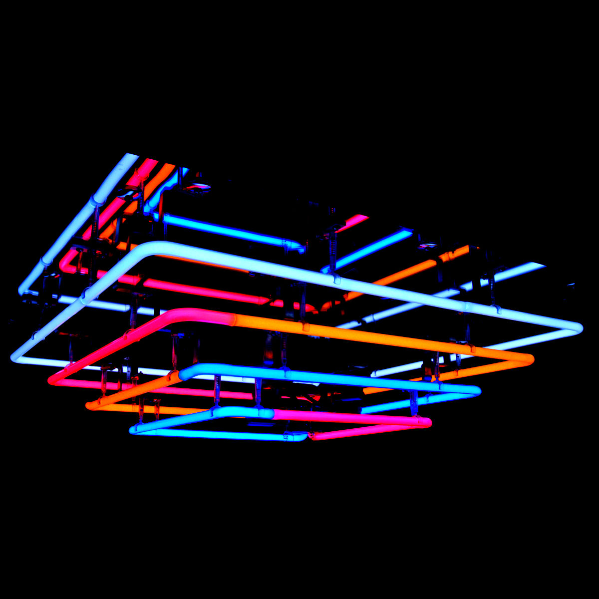 Cascading Mirrored Neon Chandelier in stained Italian neon glass