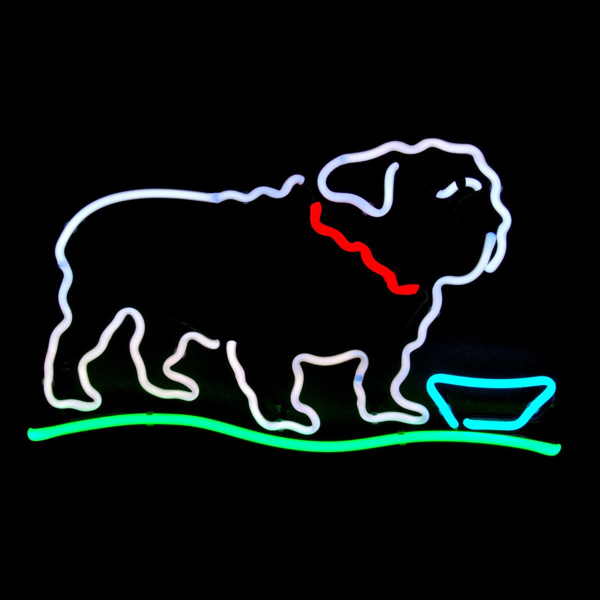 Bulldog Designer Neon Sculpture by John Barton - Neon Light Sculptor - USA