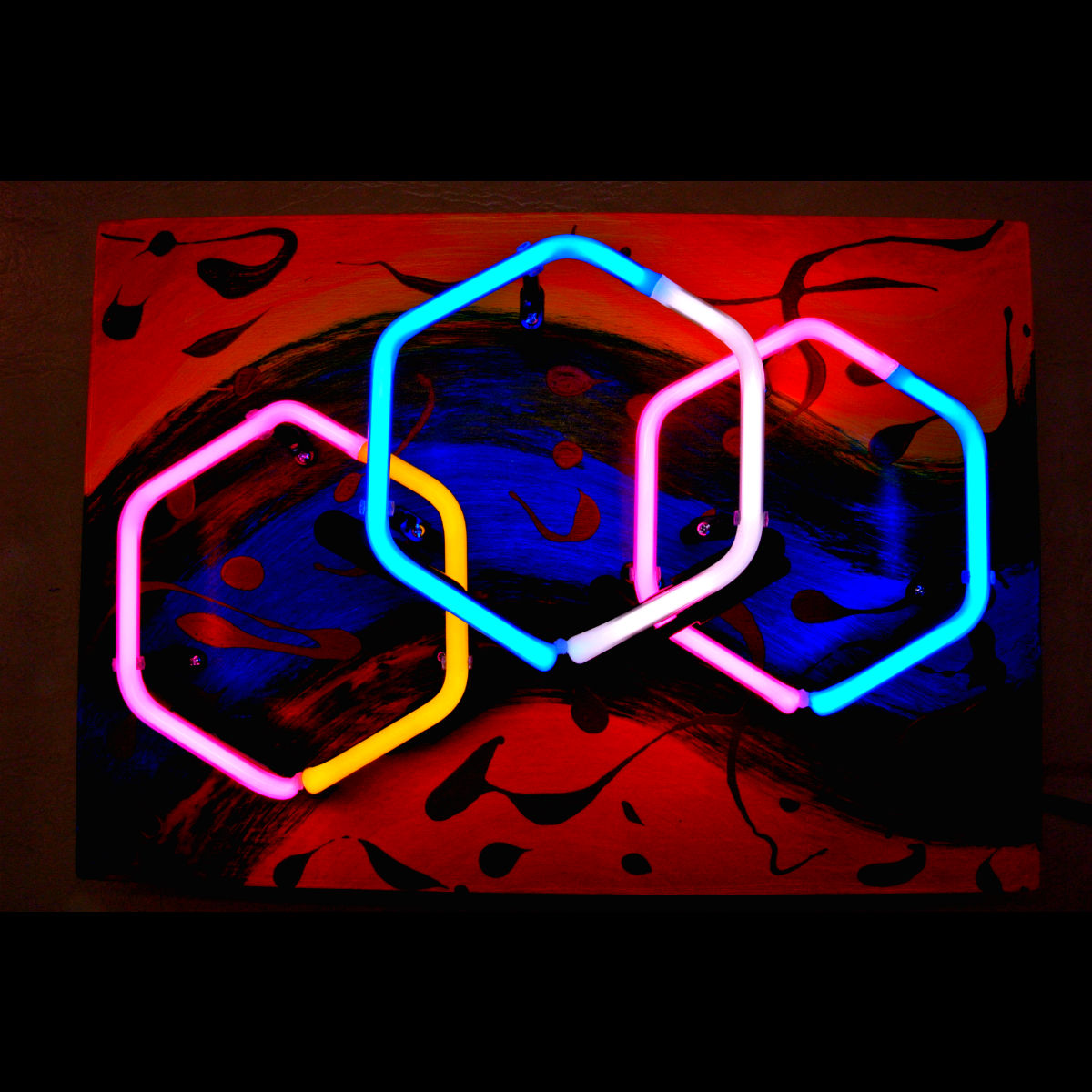 Parisian Hand-blown Neon Sculpture in Stained Murano Italian Neon Glass