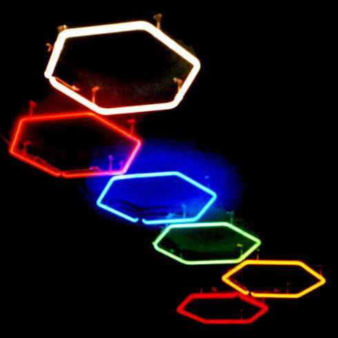 """Mystical Pathway"" Stained Italian Glass Neon Chandelier by John Barton - International USA Neon Light Sculptor"