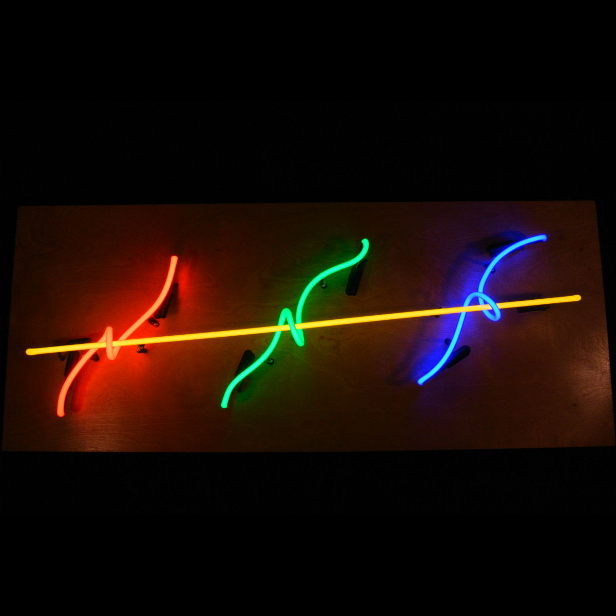 Ultra-modern Neon Light Sculpture in 4 colors of Stained Murano Italian Neon Glass by John Barton - Famous USA Neon Light Sculptor