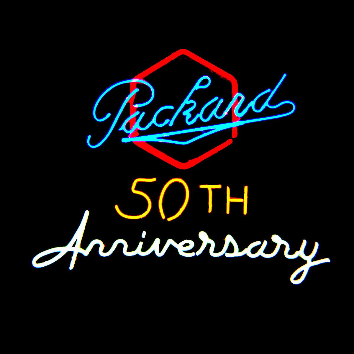 """Packard 50th Anniversary"" Dealership Neon Sign by John Barton - former Packard New Car Dealer"