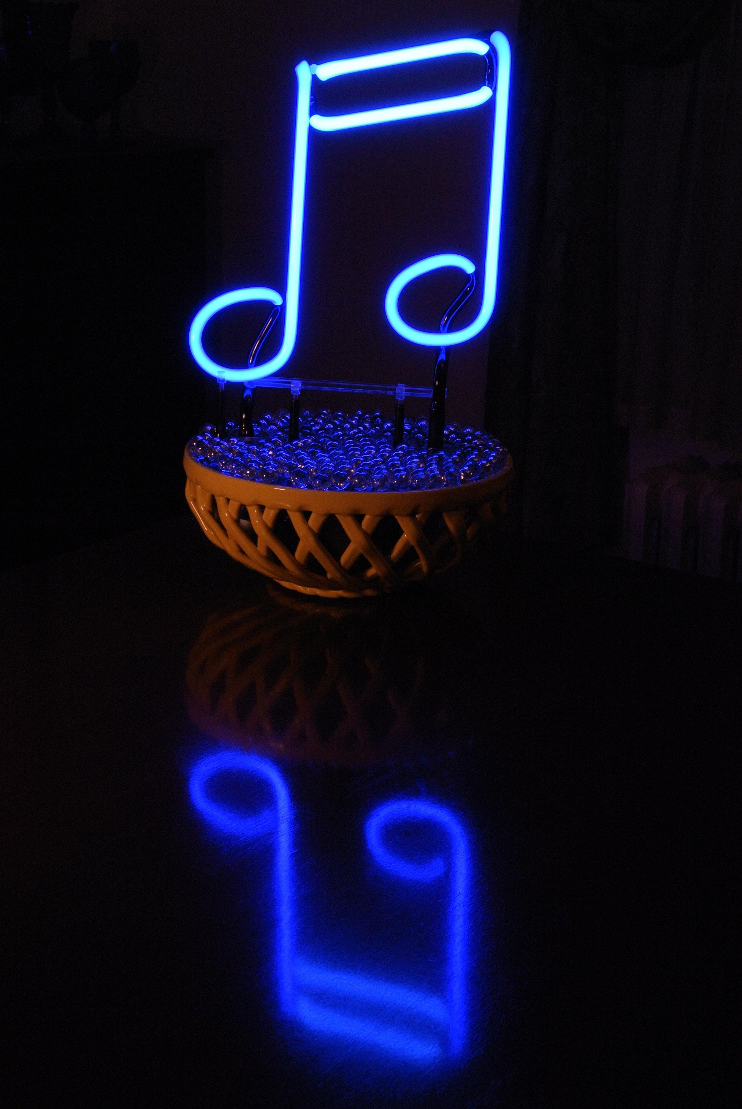 """BLUE NOTES"" Neon Light Sculpture by John Barton - BartonNeonMagic.com"