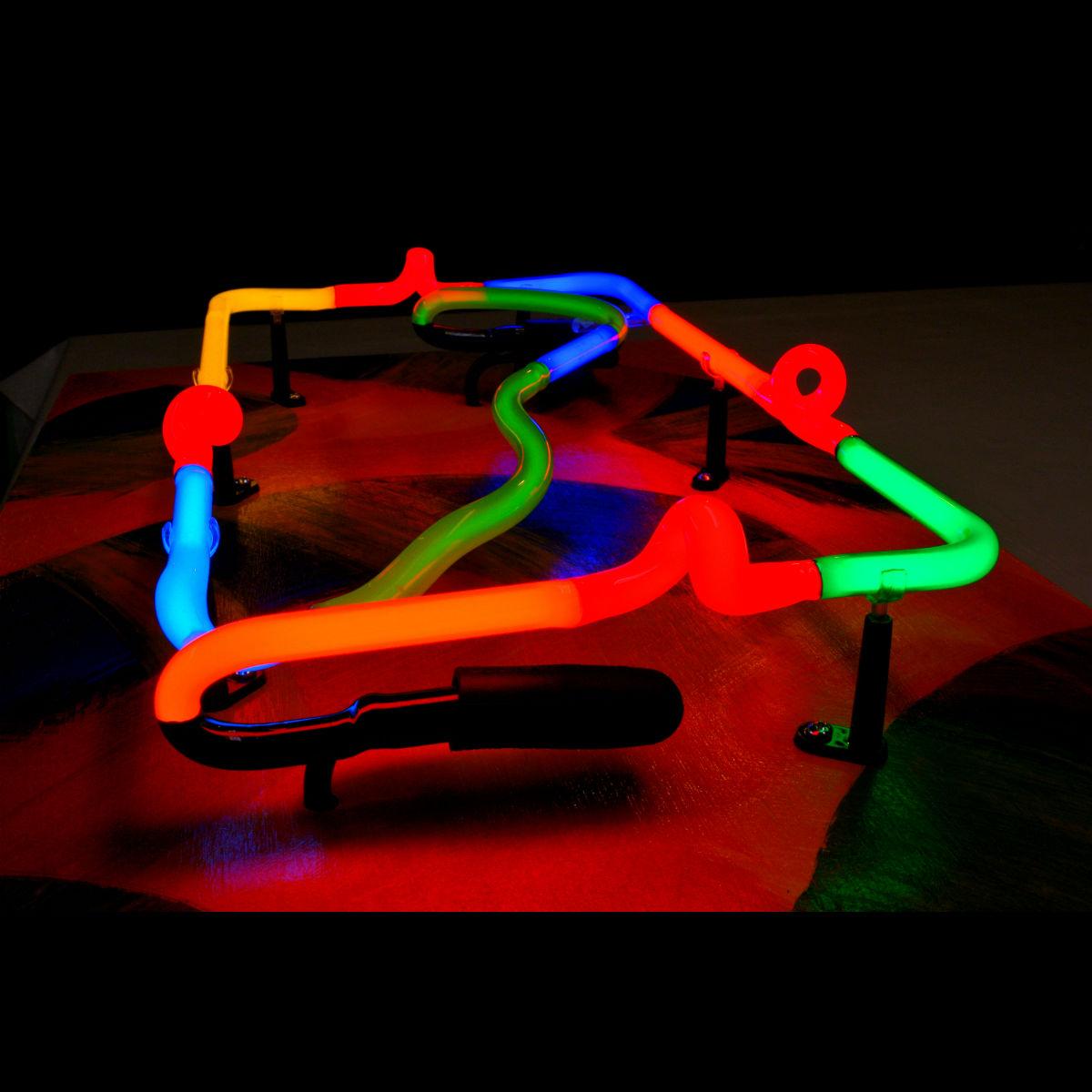 Cpntemporary Neon Art Sculptures in Stained Italian Neon Glass by John Barton - BartonNeonMagic.com