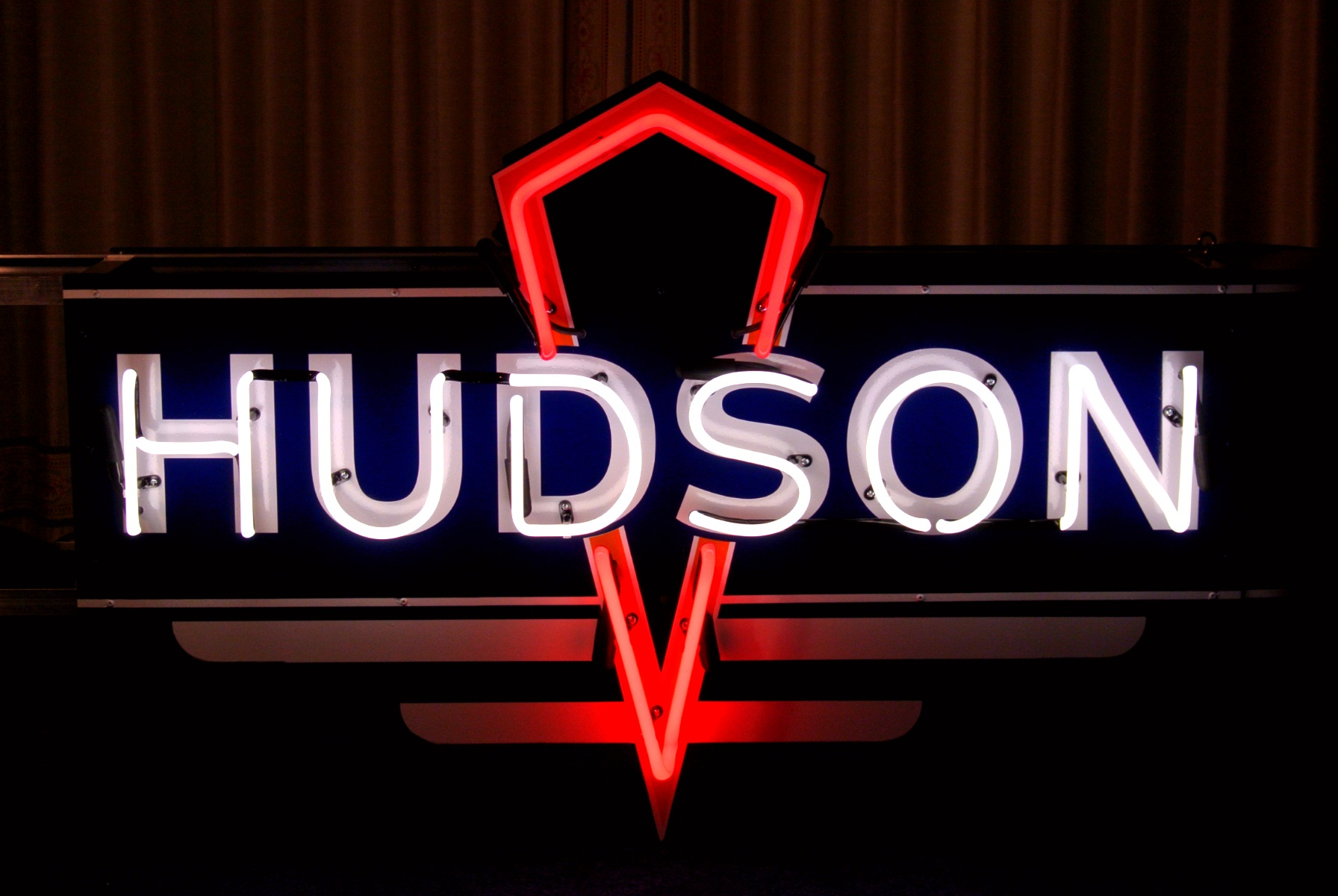 Double sided Hudson Car Dealership Neon Sign by John Barton - BartonNeonMagic.com