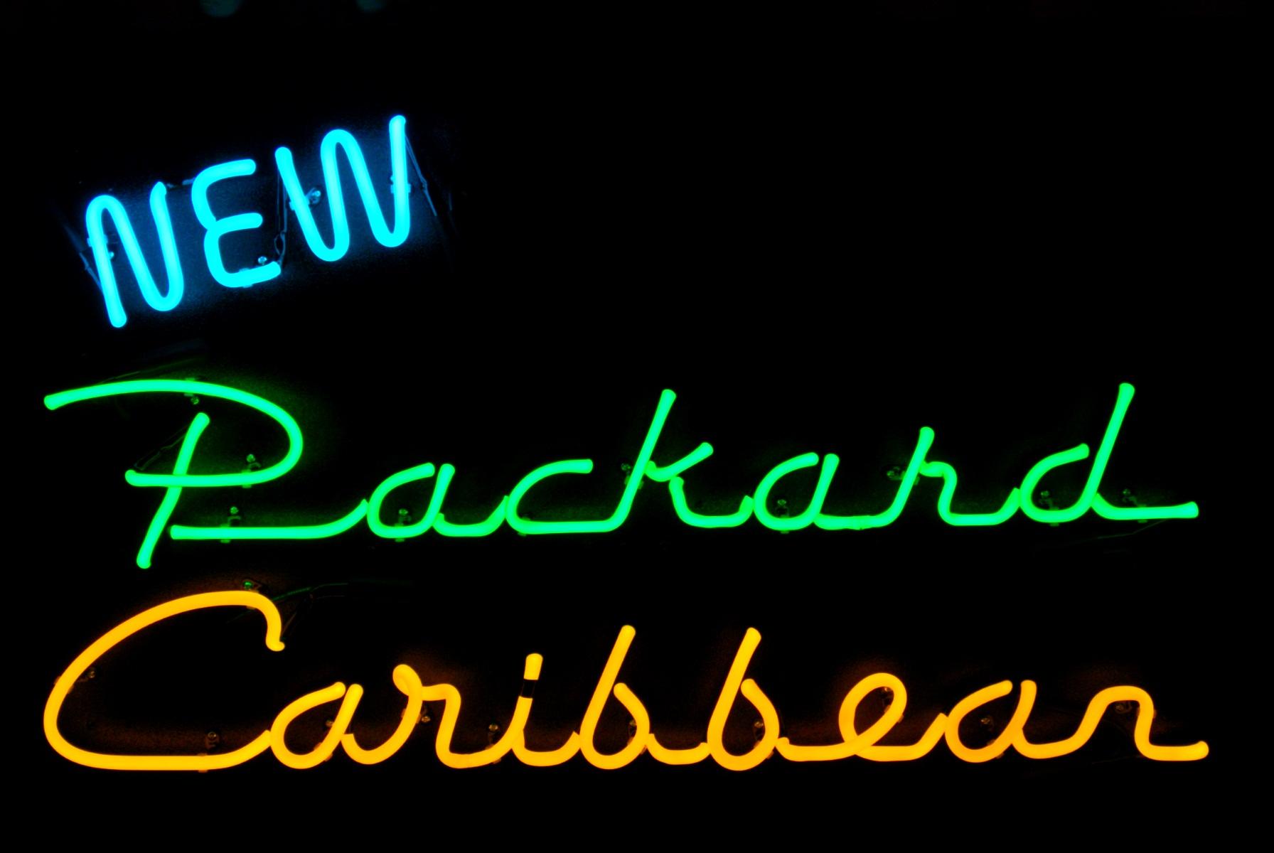 """""""New Packard Caribbean' - Packard Neon Sign by John Barton - former Packard New Car Dealer - BartonNeonMagic.com"""