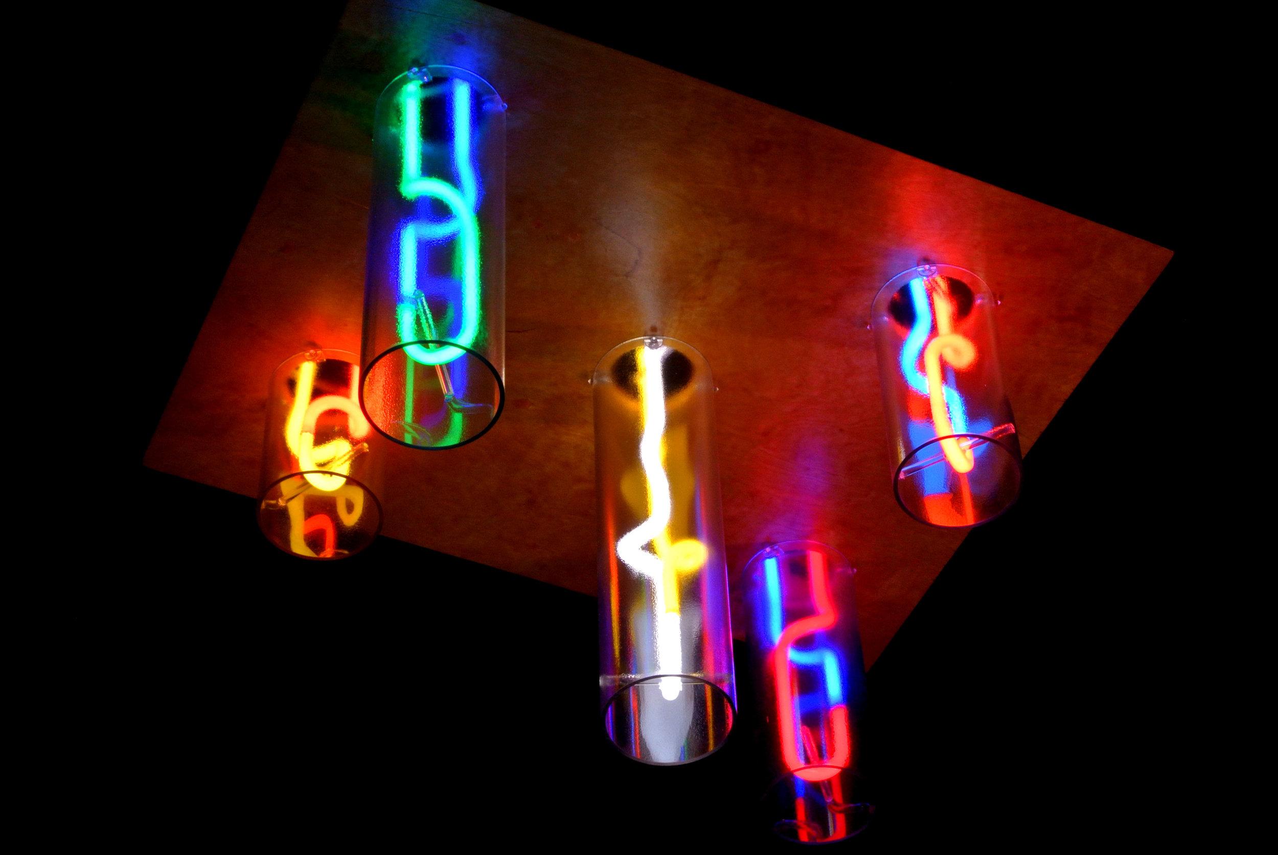 Neon Chandeliers and Neon Light Fixtures by John Barton - BartonNeonMagic.com