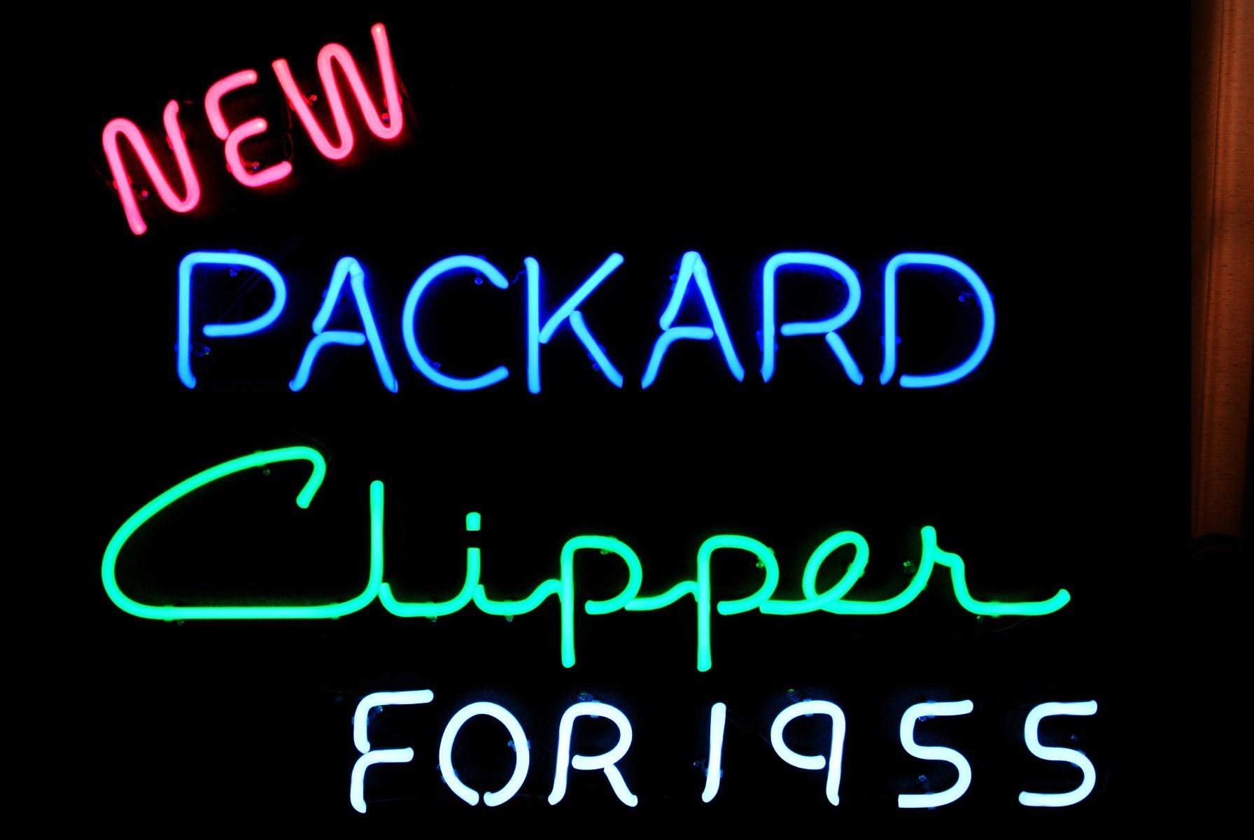 New Packard Clipper for 1955 - Packard Dealership Neon Sign by John Barton - BartonNeonMagic.com