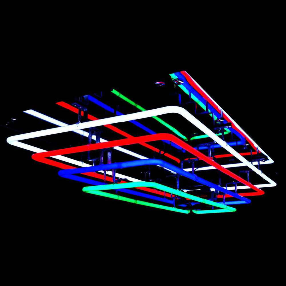 Cascading Stained Italian Glass Mirrored Neon Light Fixture by John Barton - BartonNeonMagic.com