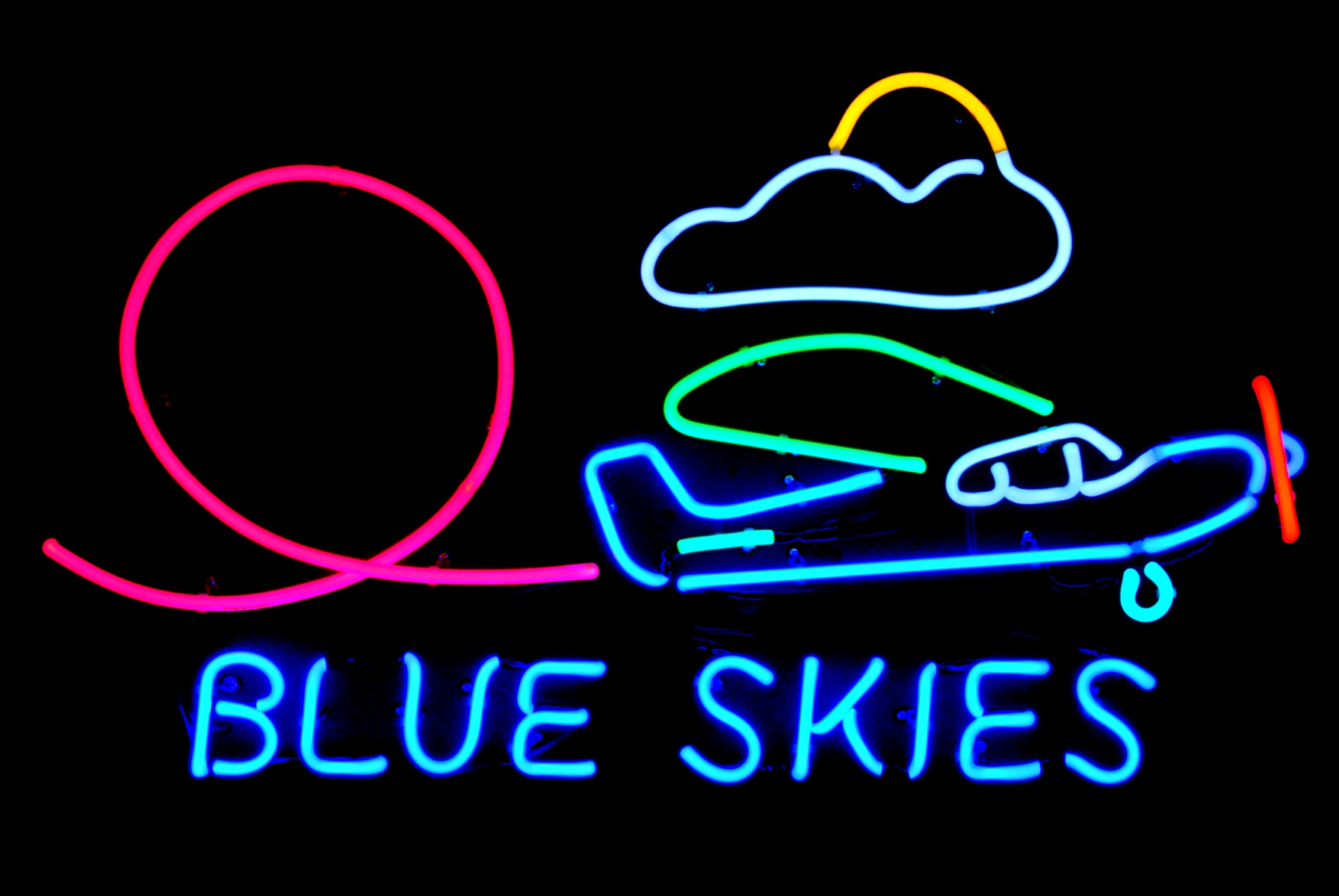Blue Skies - Stunt Airplane Neon Artwork by John Barton - BartonNeonMagic.com
