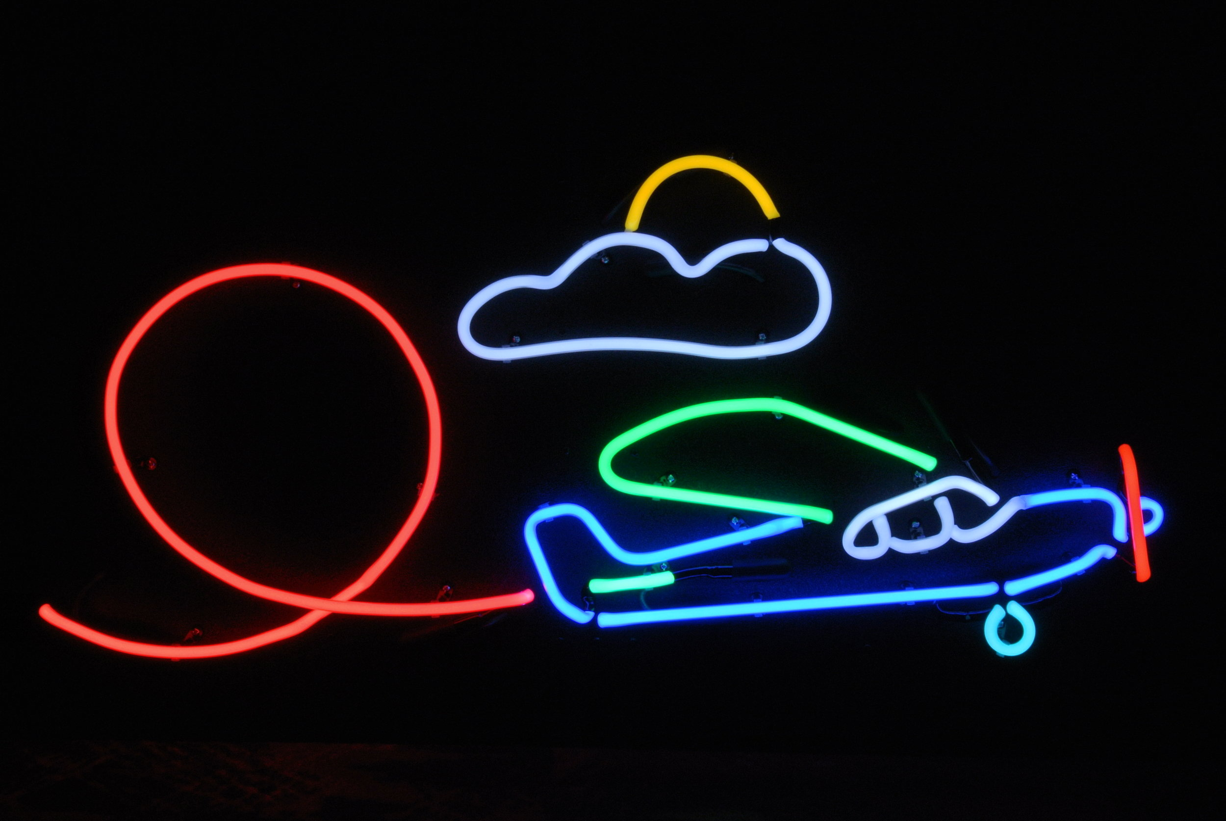 STUNT AIRPLANE NEON LIGHT ART SCULPTURE by John Barton - BartonNeonMagic.com