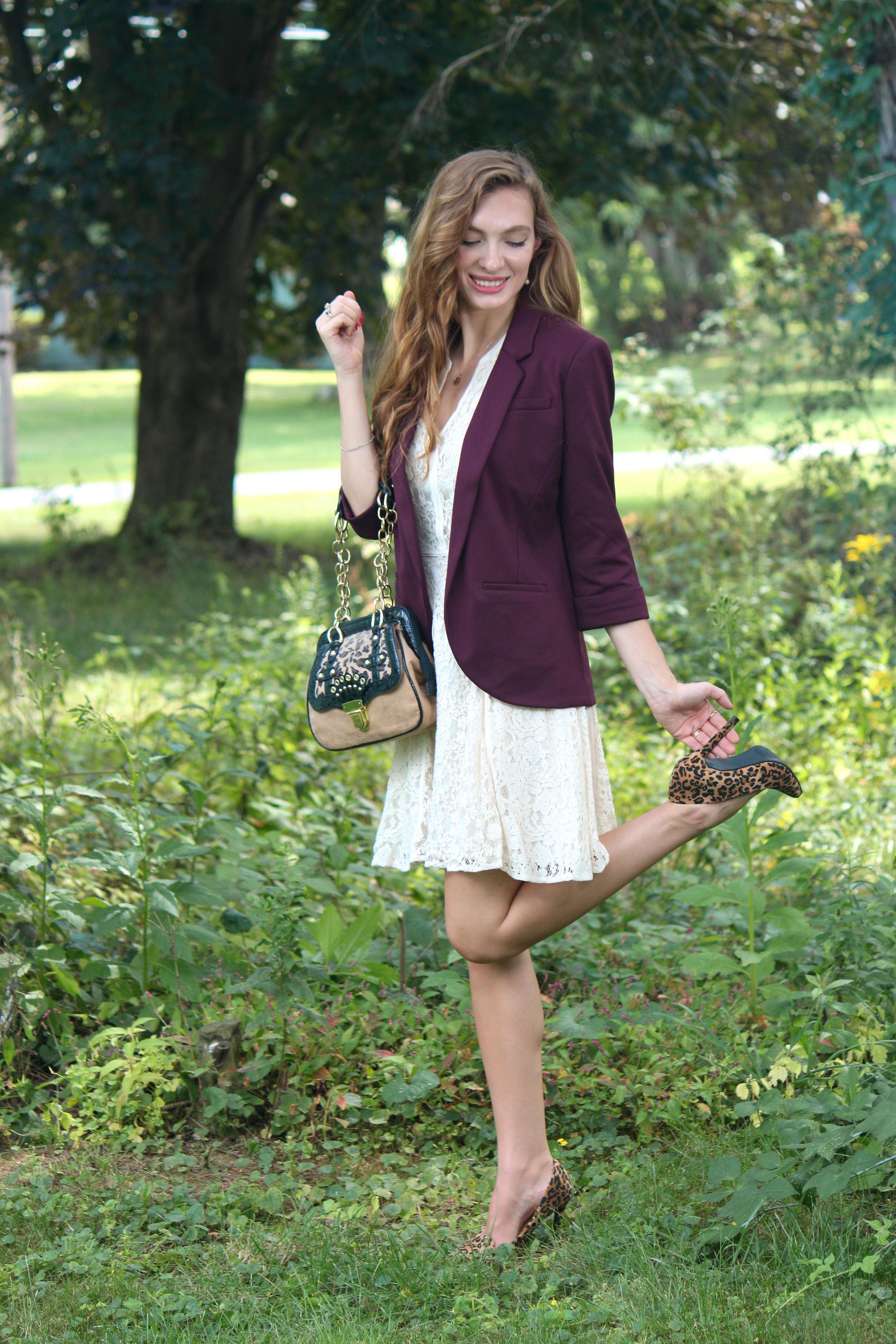 wine blazer, loepard heels