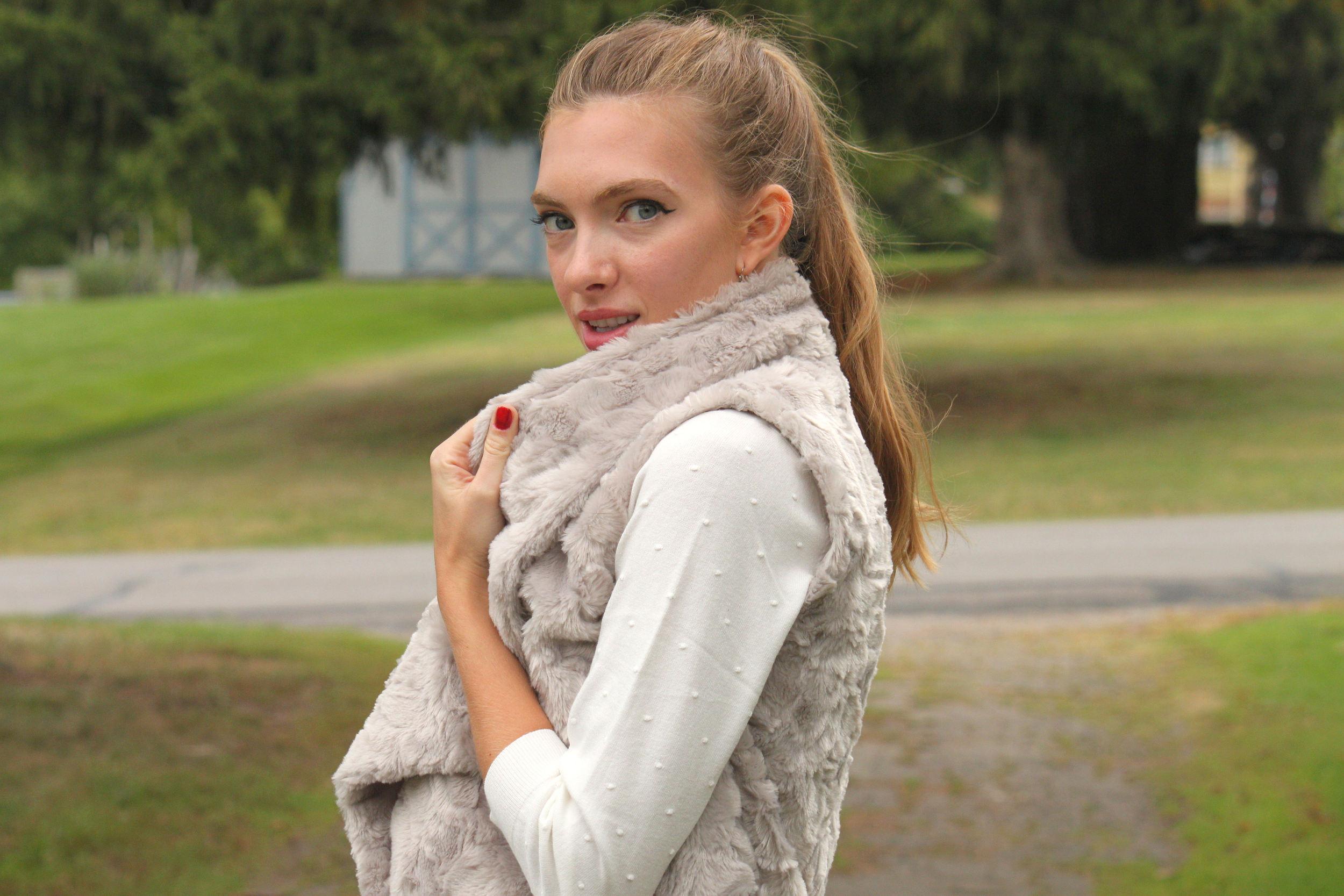 cozy fall faux fur vest