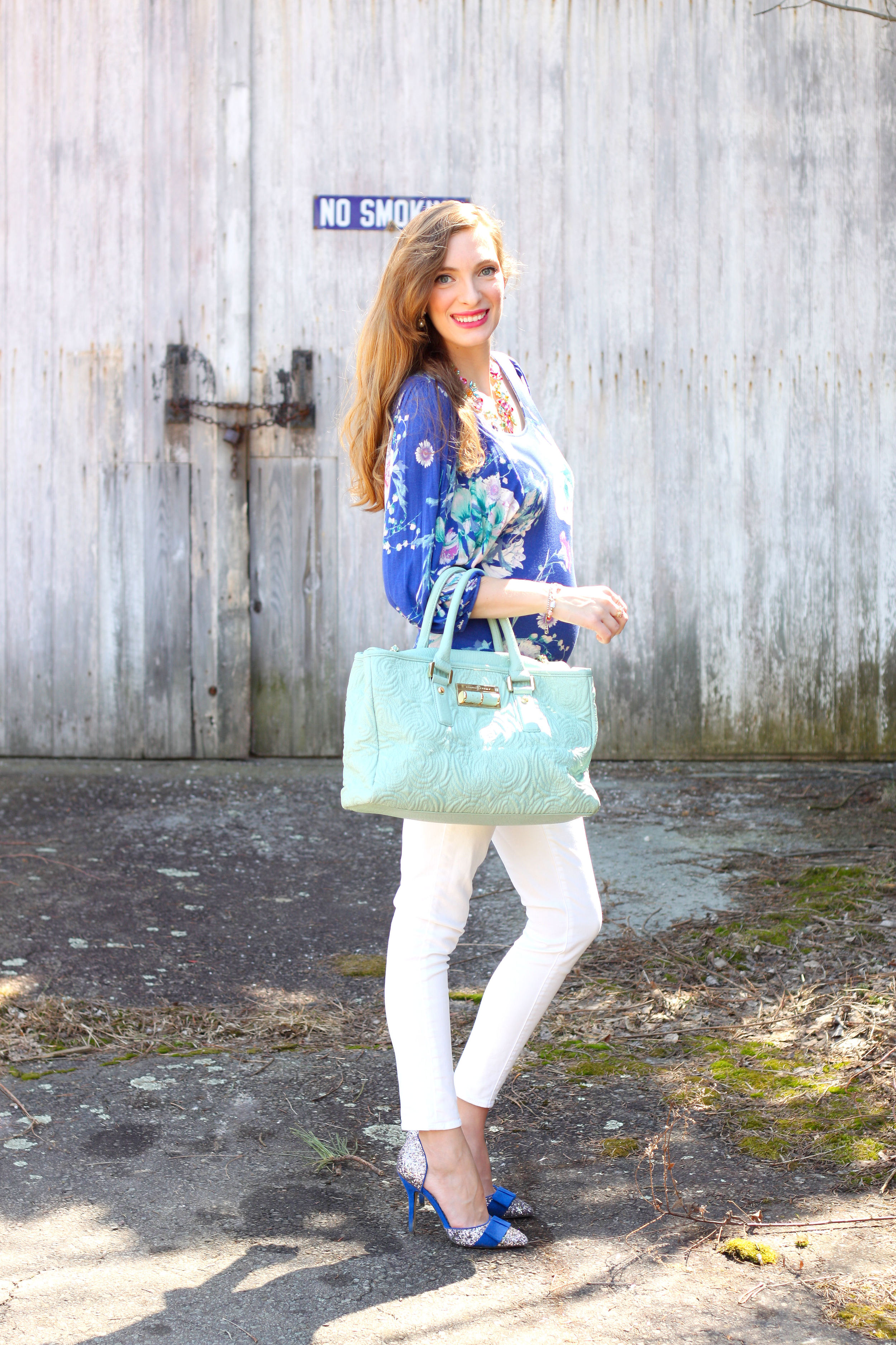 blue floral and mint