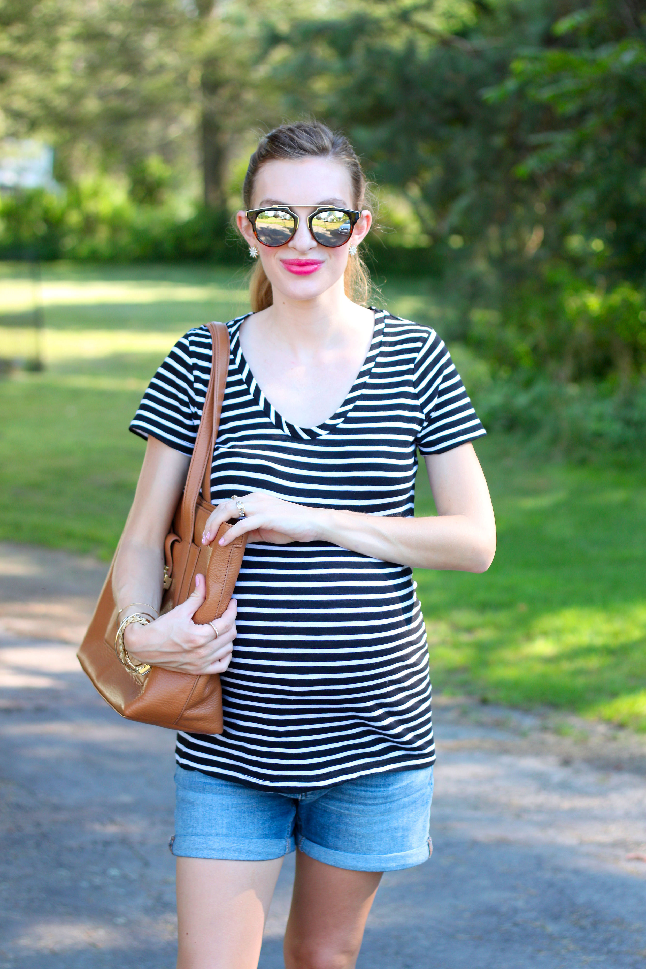 Striped Tee- Enchanting Elegance