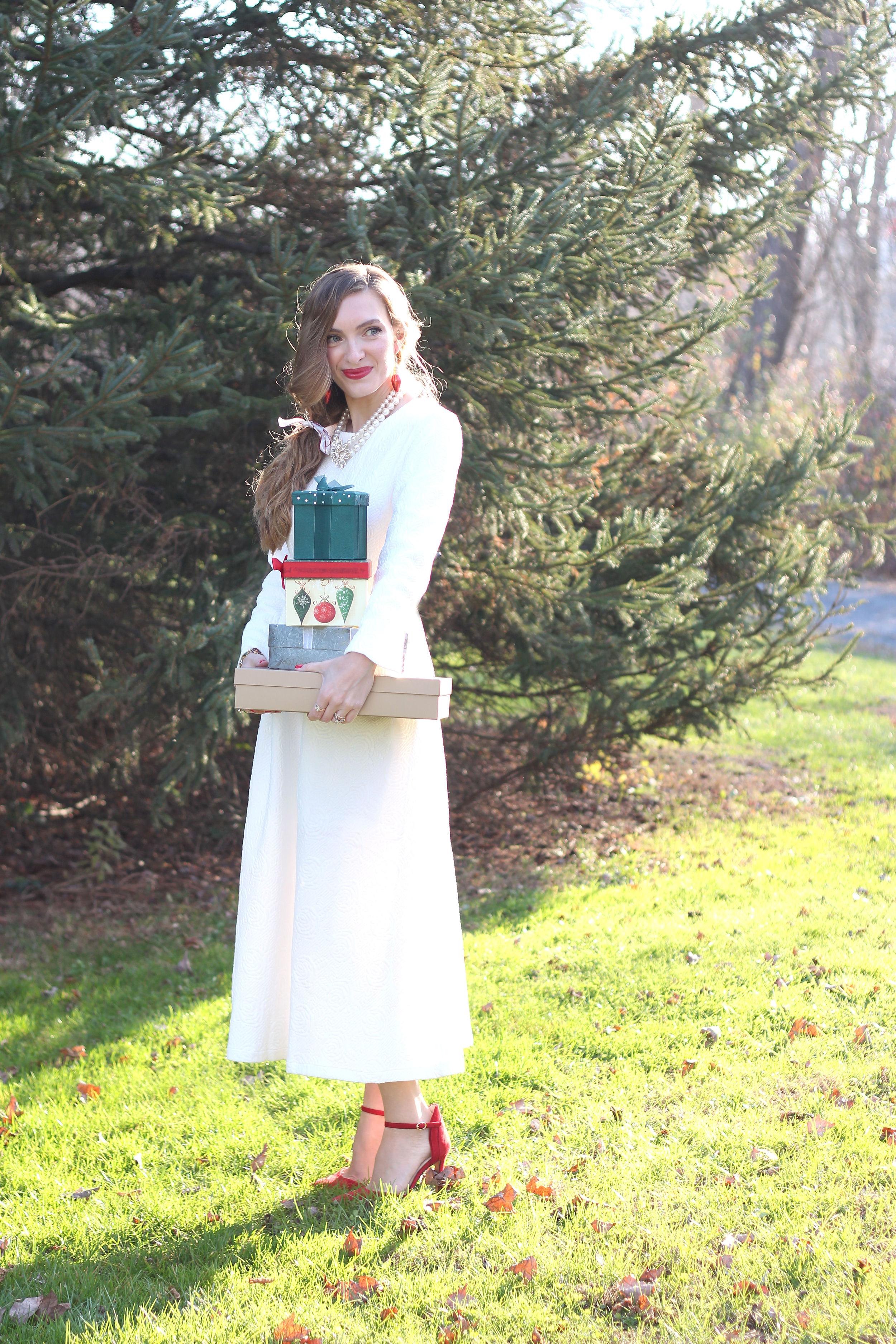 White Holiday Dress- Enchanting Elegance