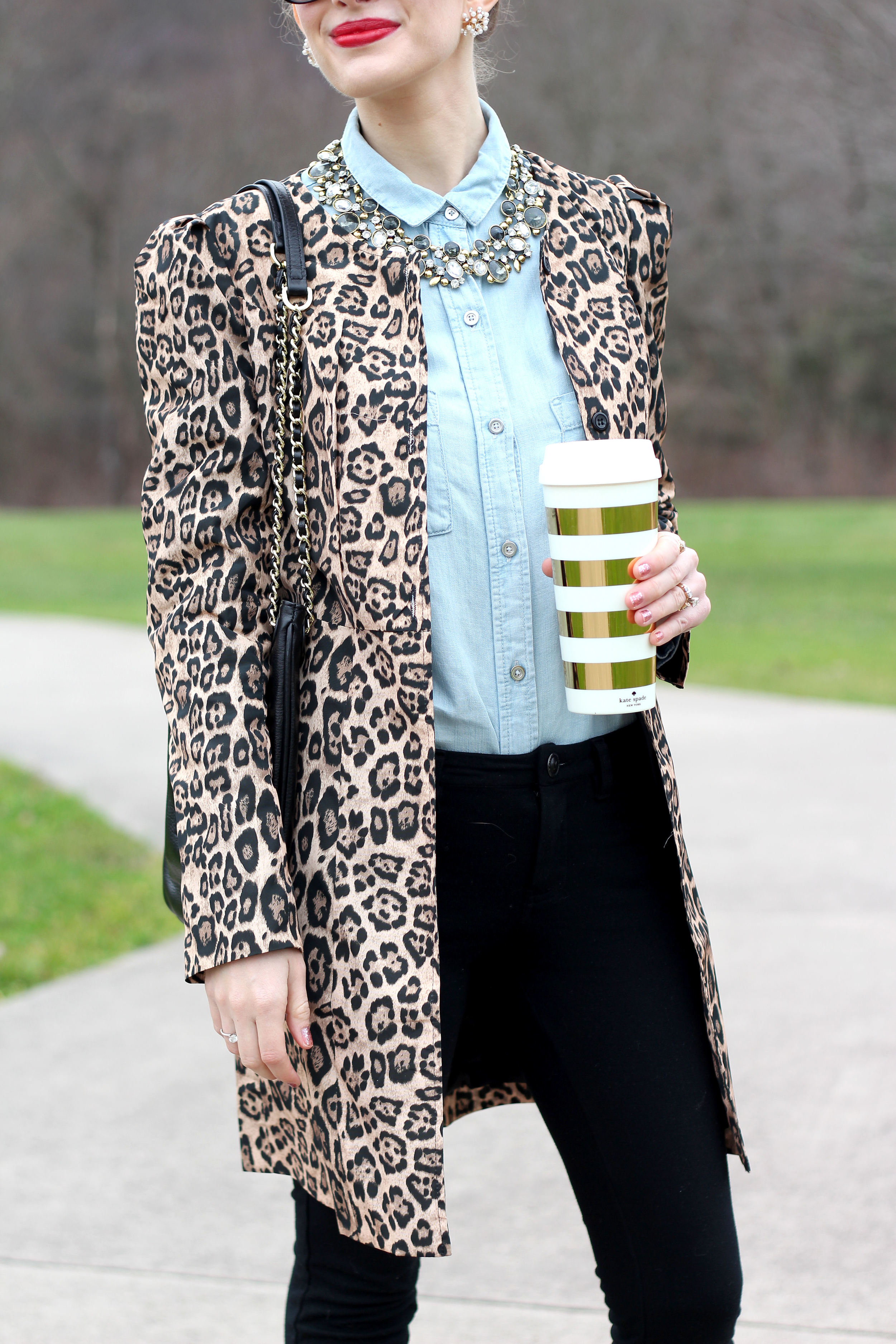 Leopard Coat & Statement Necklace- Enchanting Elegance