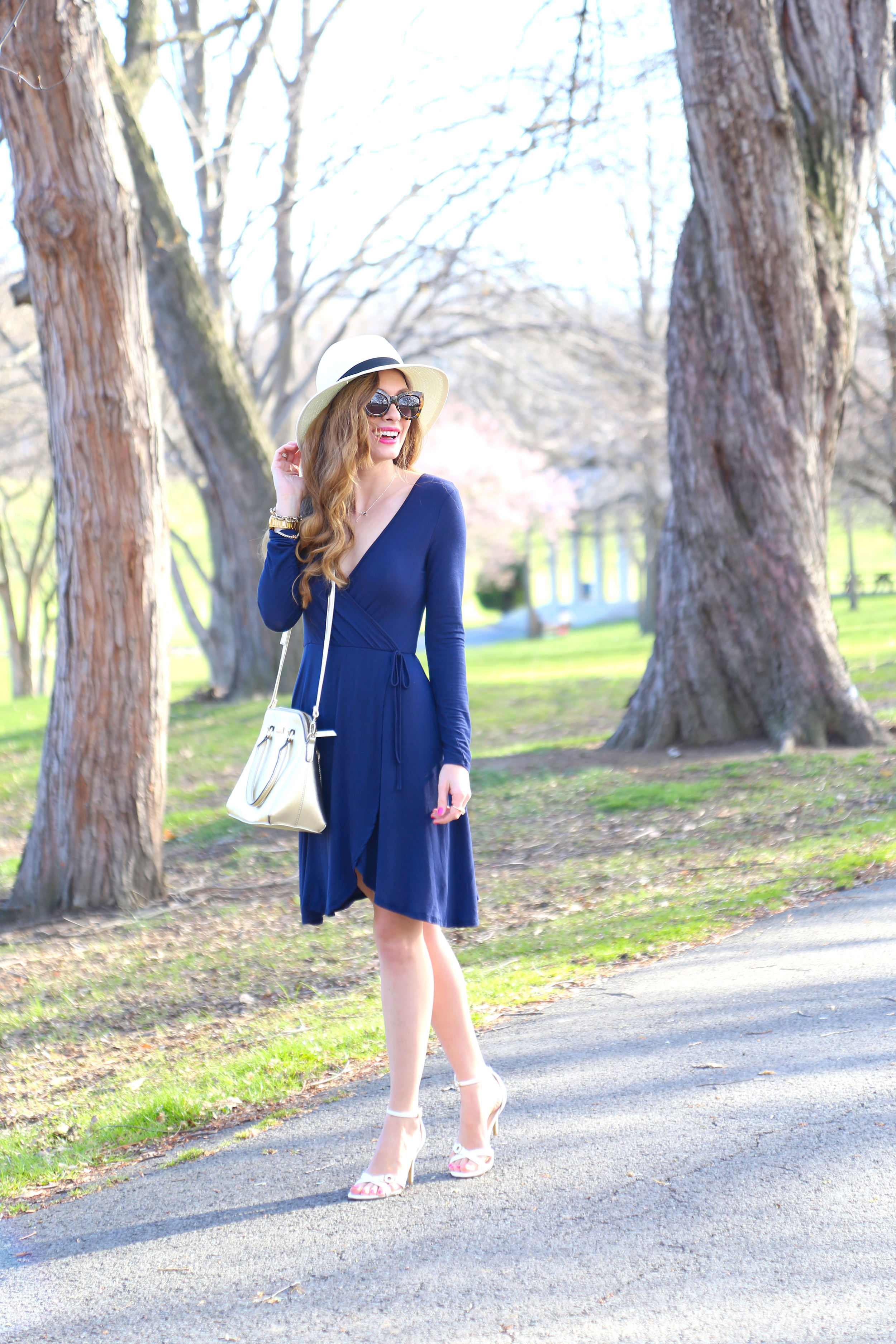 Navy Wrap Dress- Enchanting Elegance