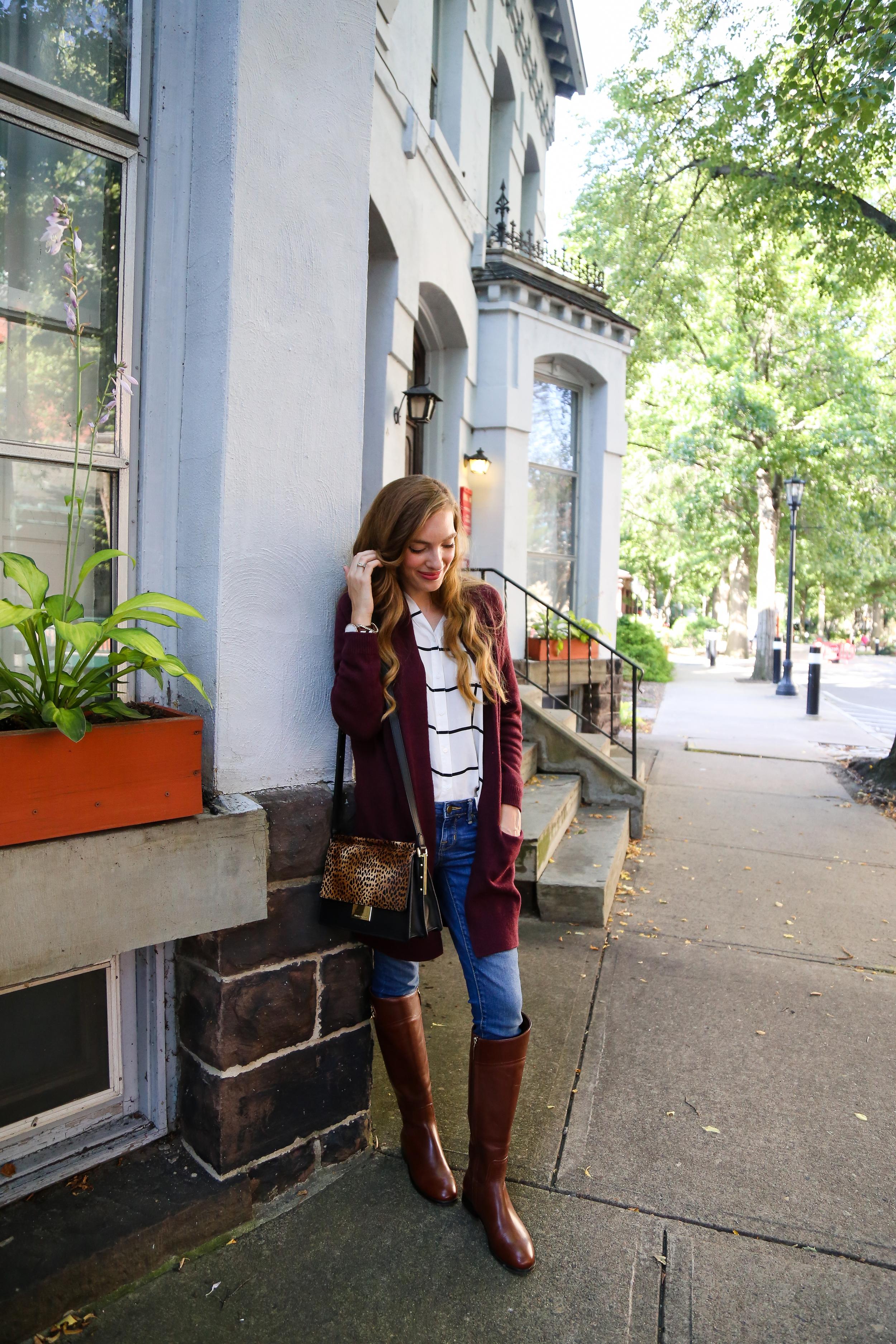 Cozy Cardi + Riding Boots- Enchanting Elegance