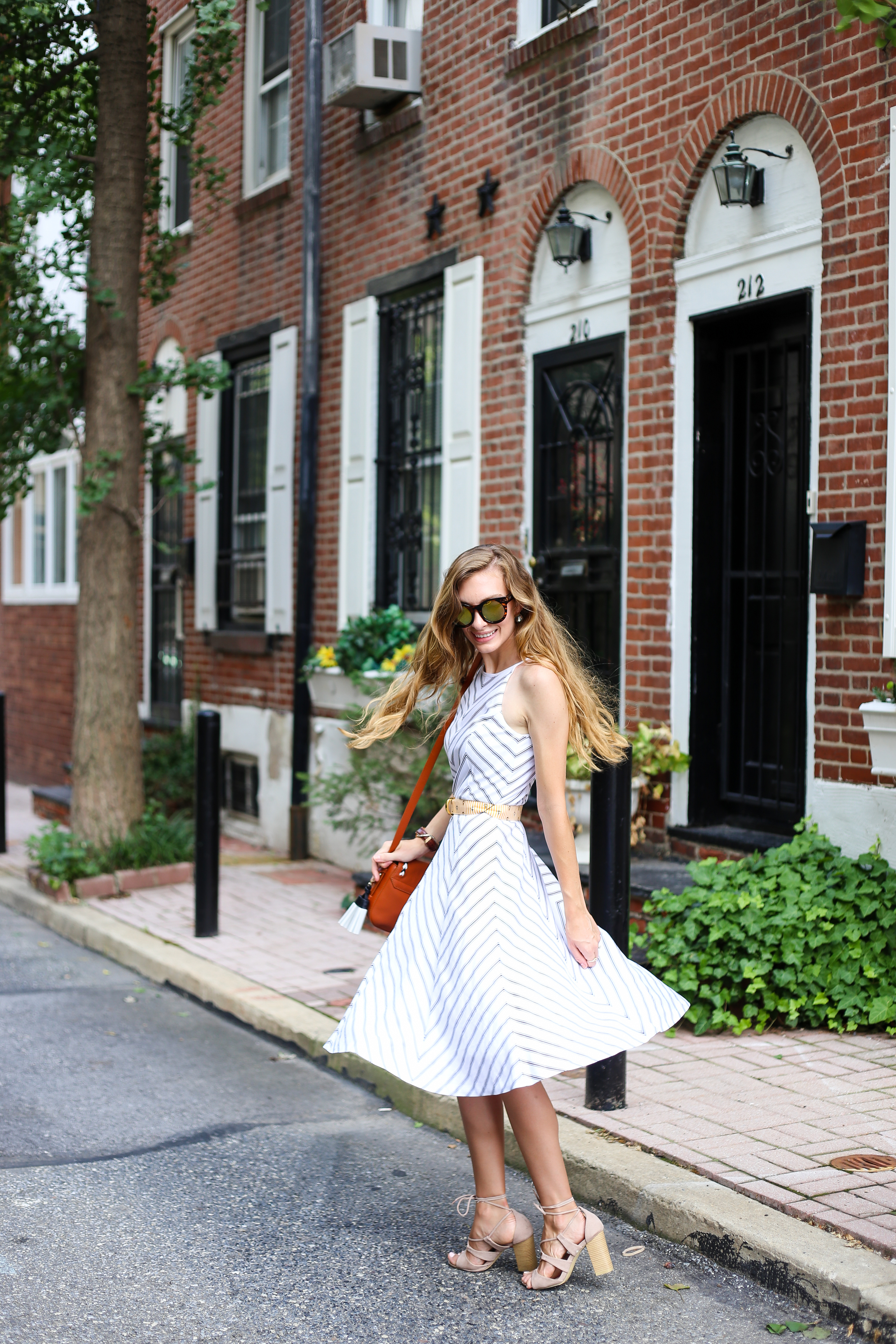 Striped Fit and Flare- Enchanting Elegance