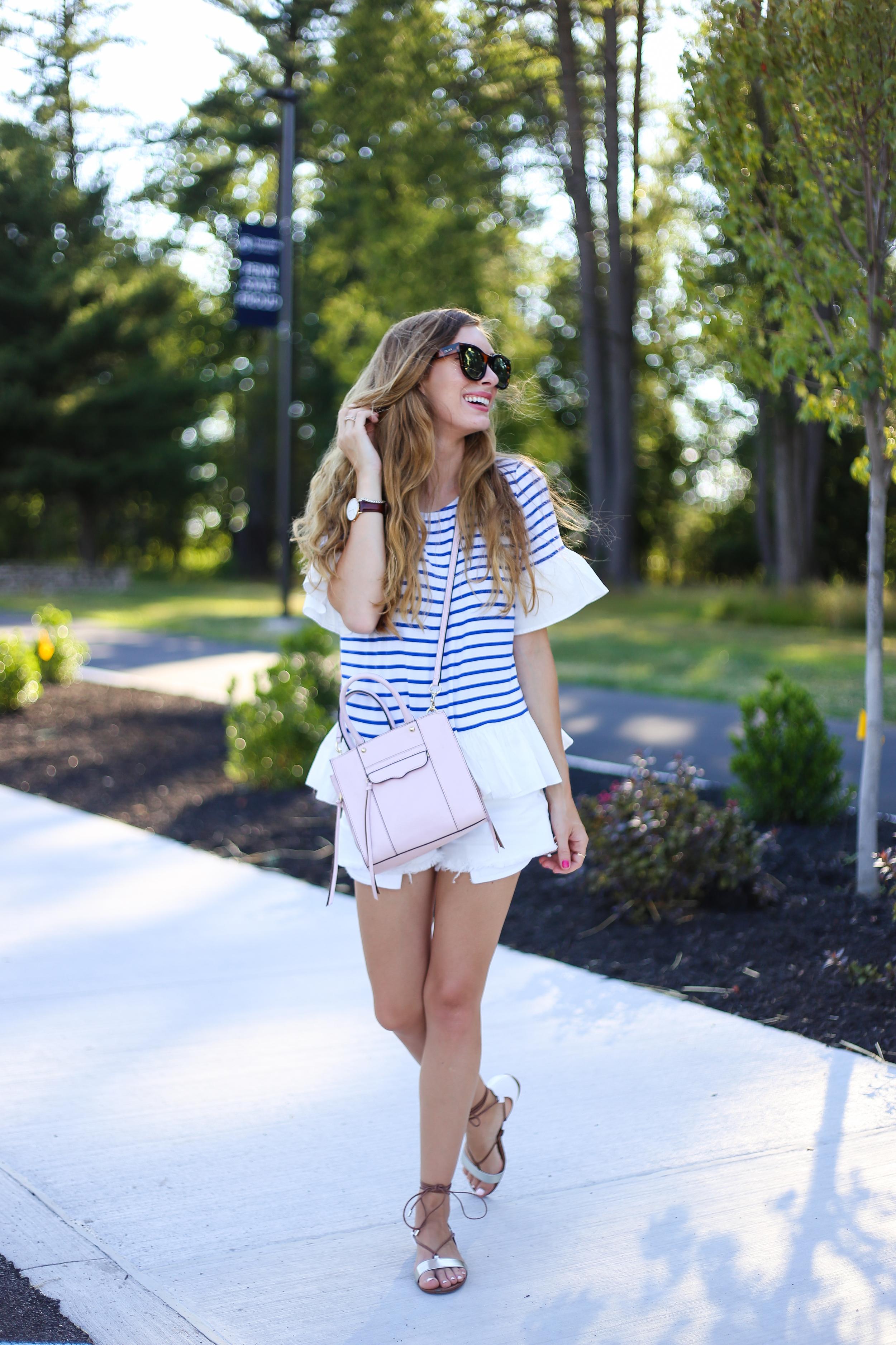 Blue Striped Top- Enchanting Elegance