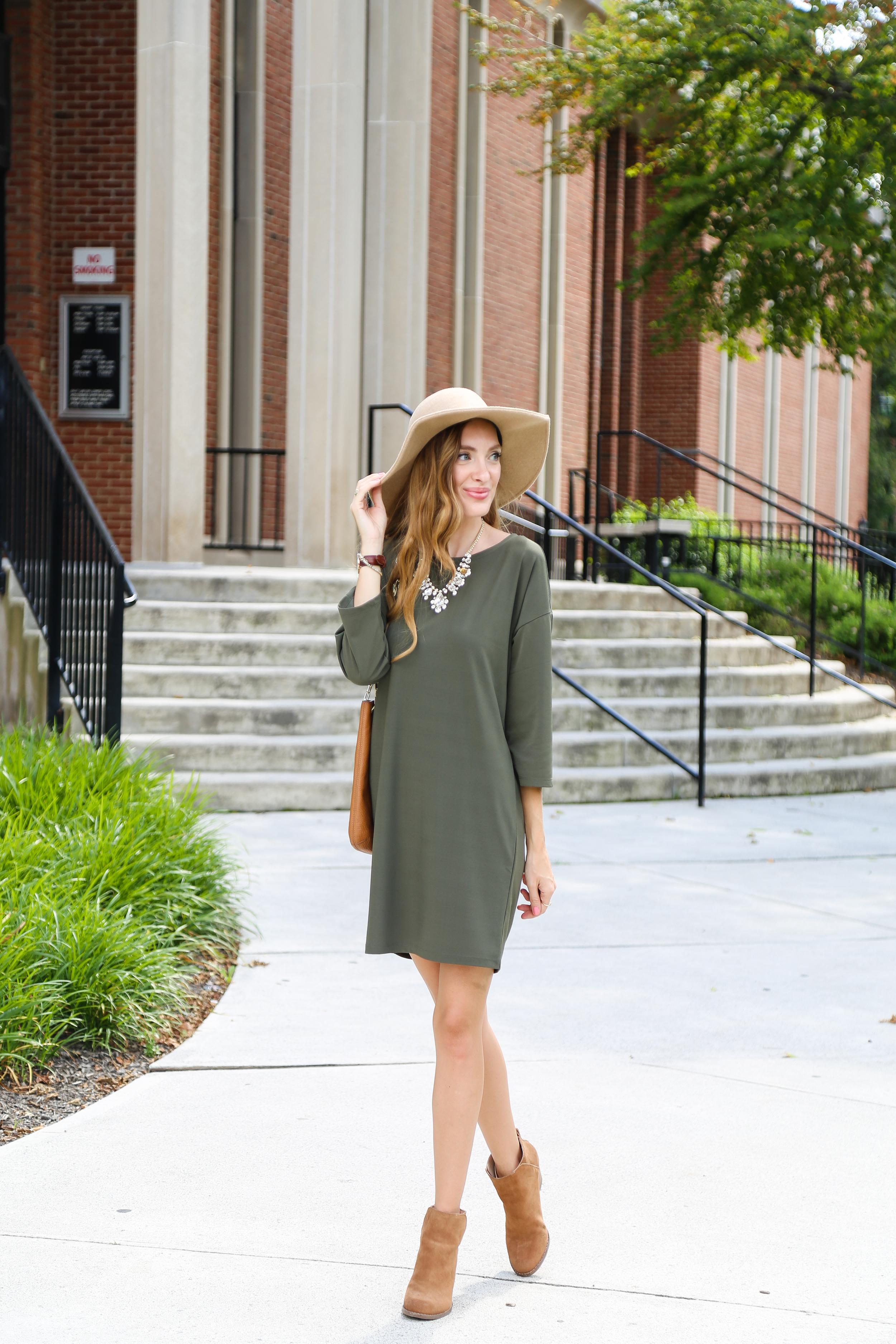 Olive Green Dress- Enchanting Elegance