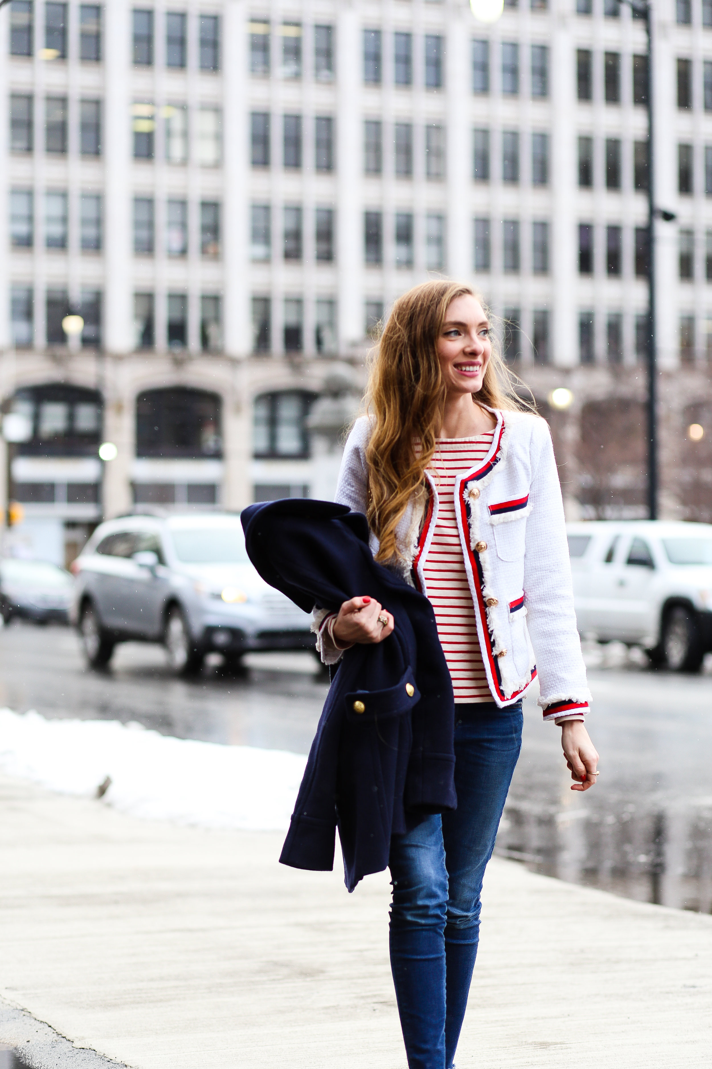 Red, White, and Blue Tweed Blazer- Enchanting Elegance