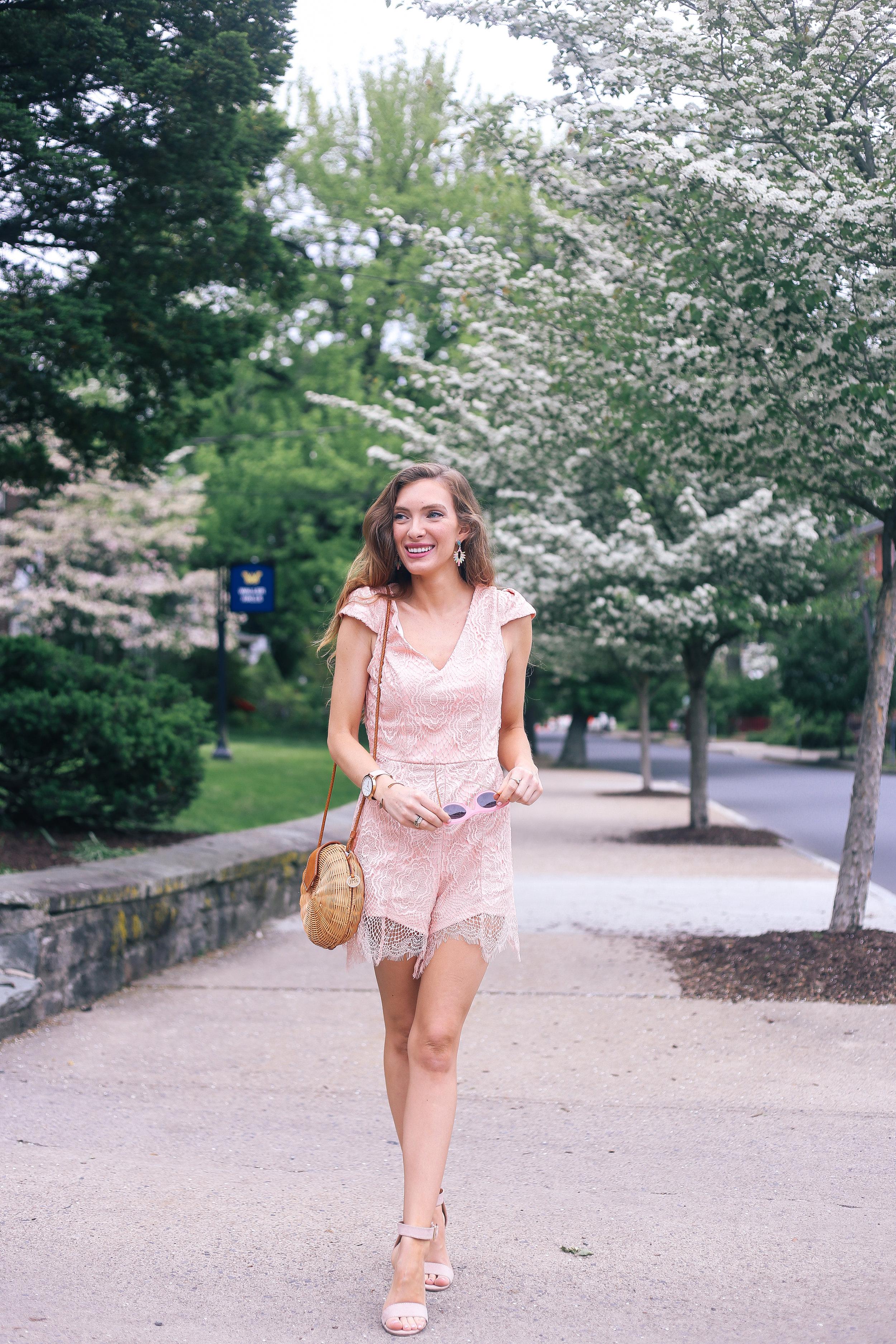 Blush Lace Romper- Enchanting Elegance