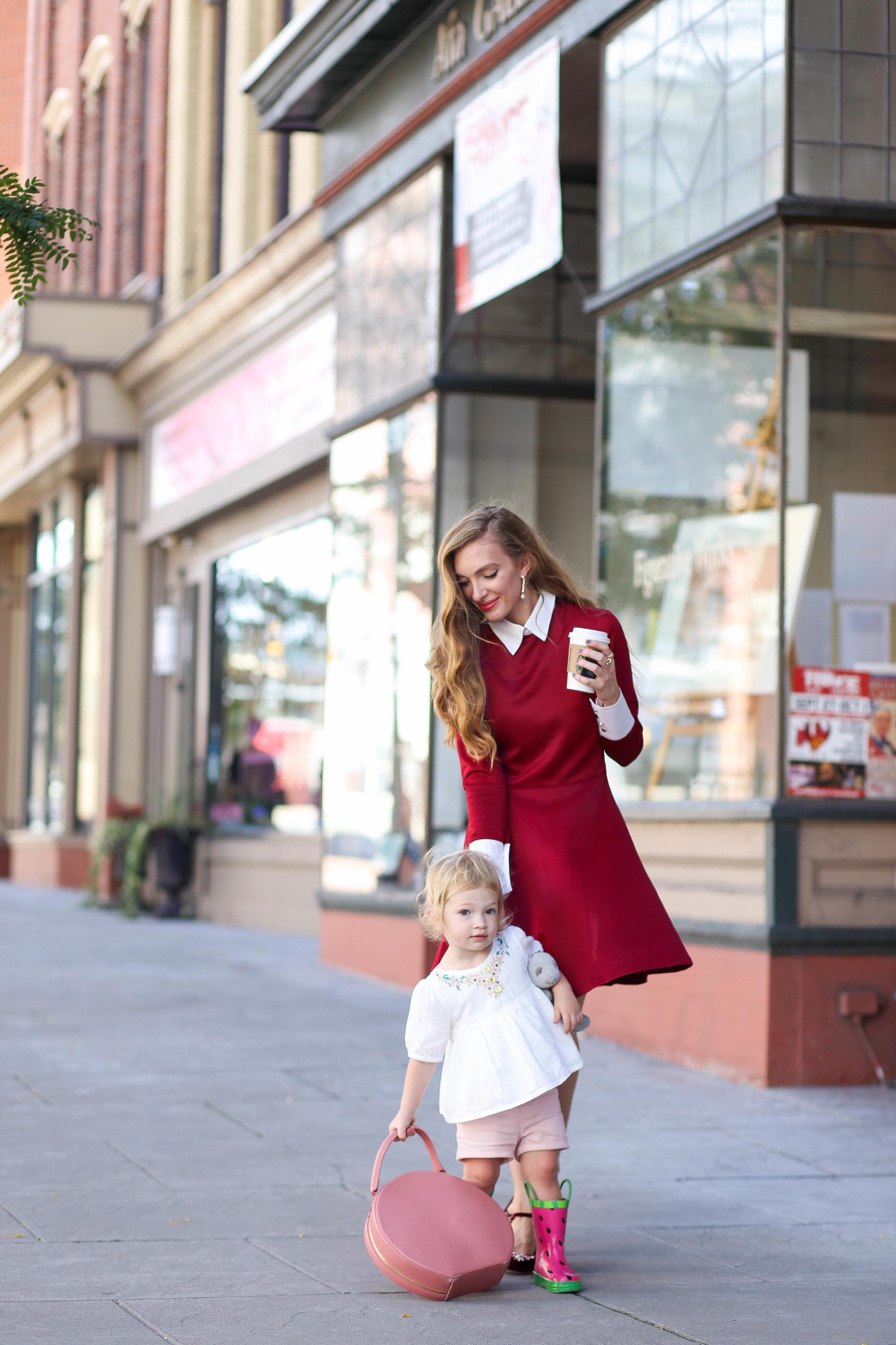 Burgundy Dress. Burgundy Heels. Blush Circle Bag. Fall Style. Mary Janes.