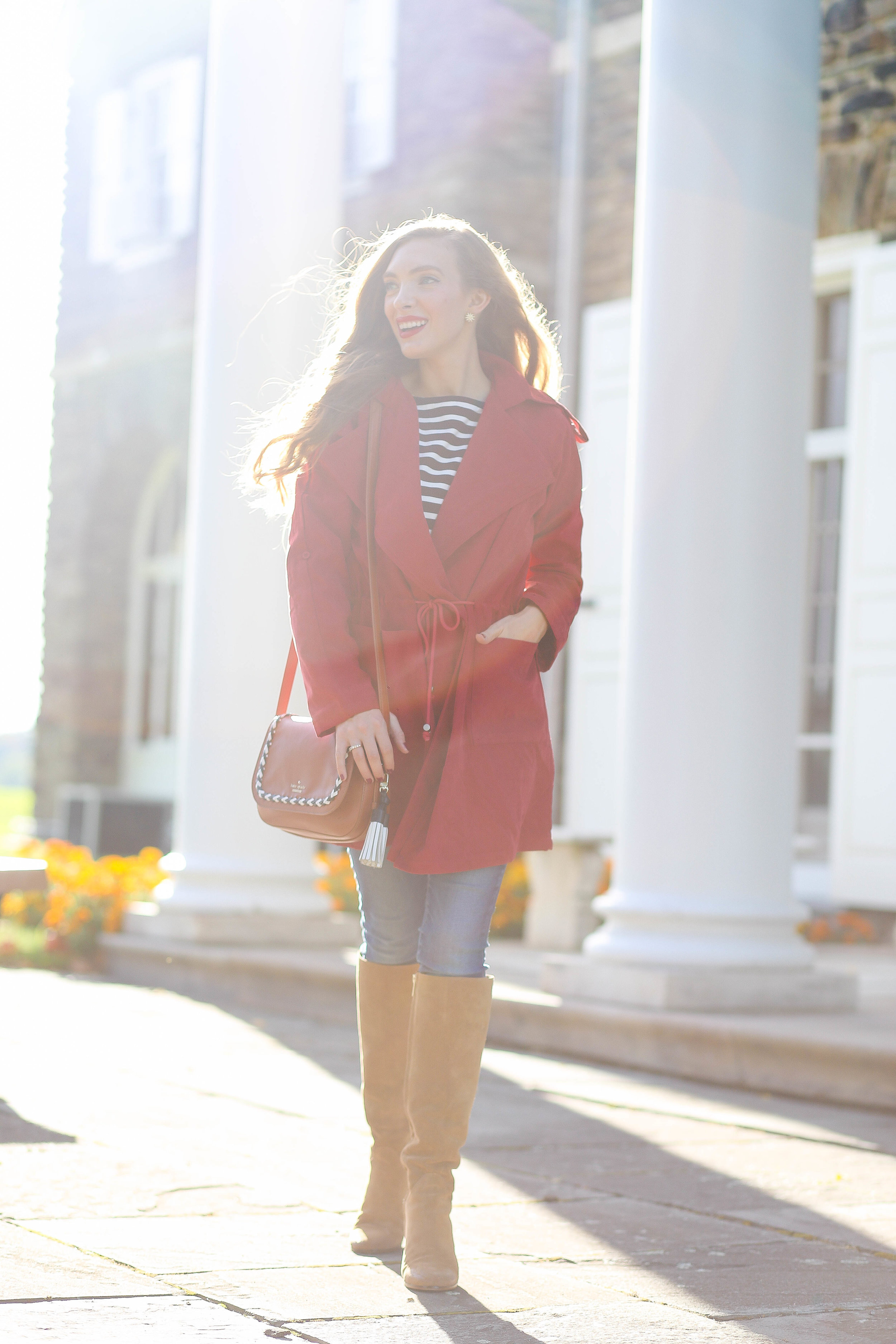 Red Jacket. Stripped Top. Tan Boots. Tan Cross Body Bag. Skinny Jeans.