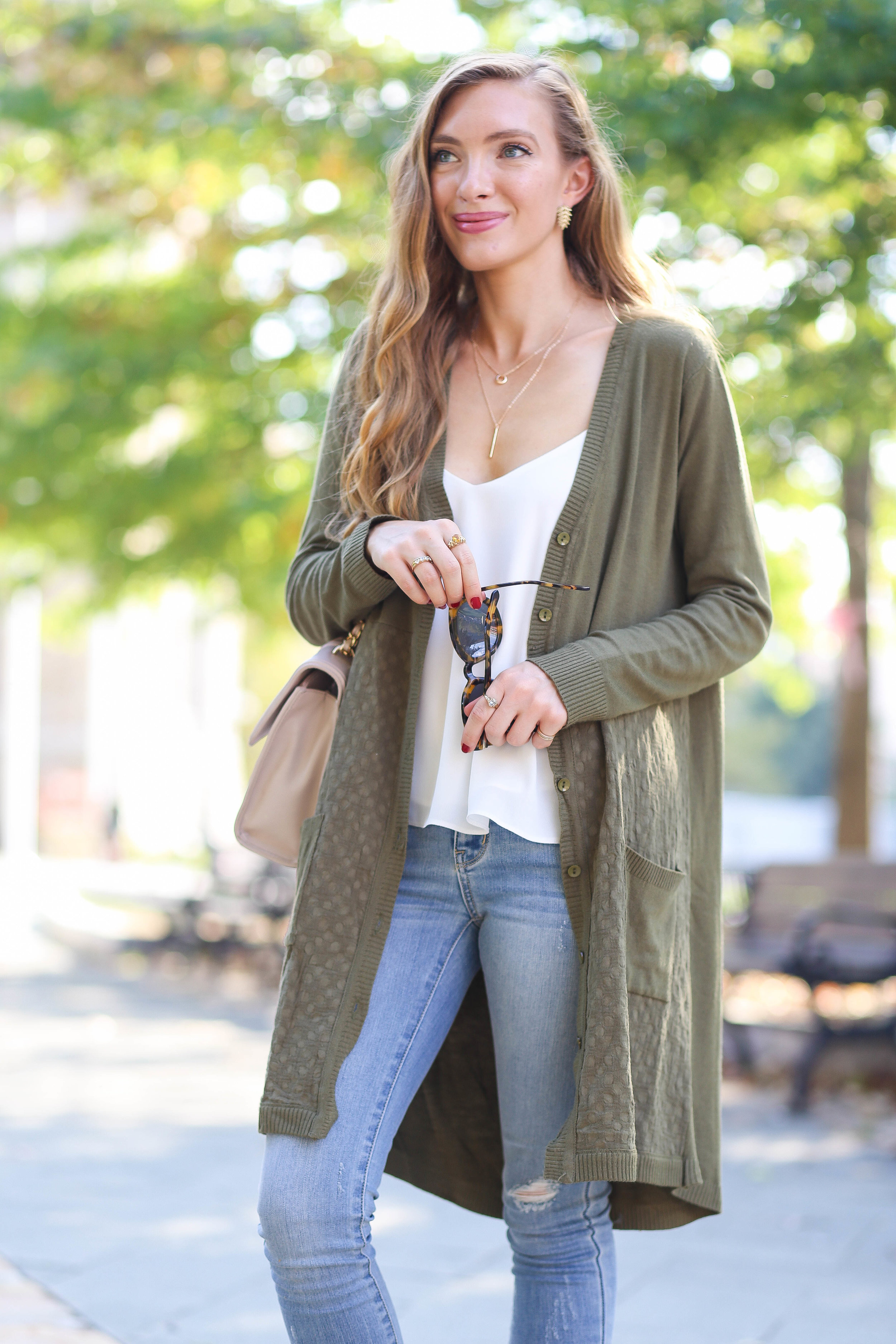 Jeans Olive Green Cardigan Outfit