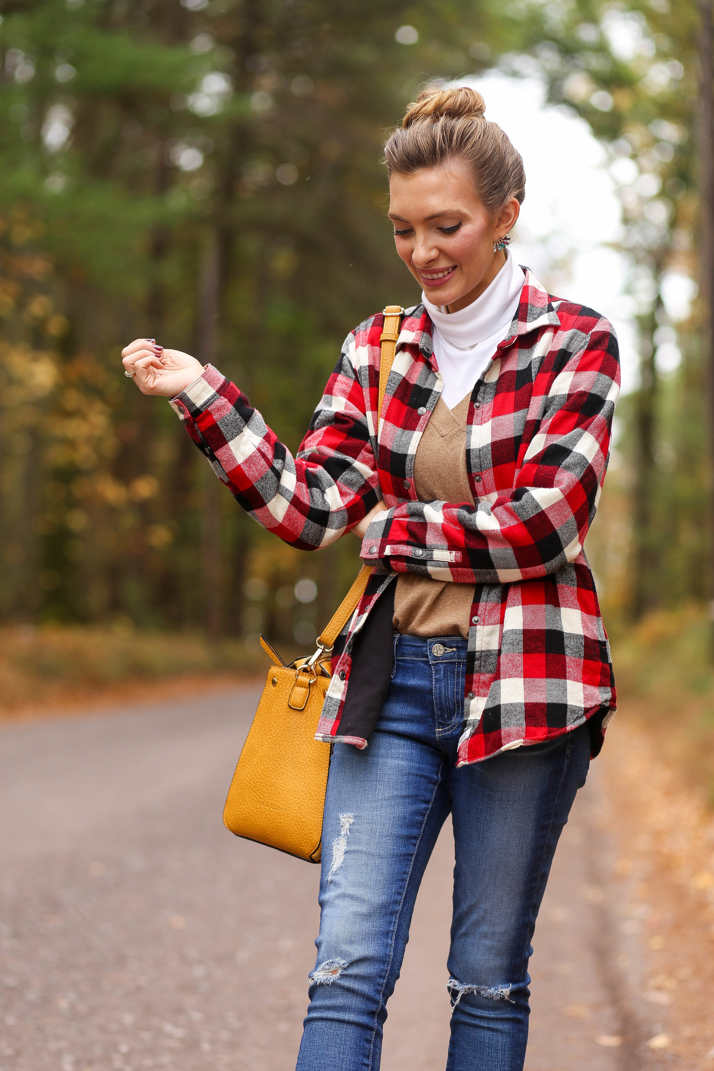 Plaid Jacket. White Turtleneck. Camel Sweater. Skinny Jeans. Cream Booties. Yellow Mustard Bag.
