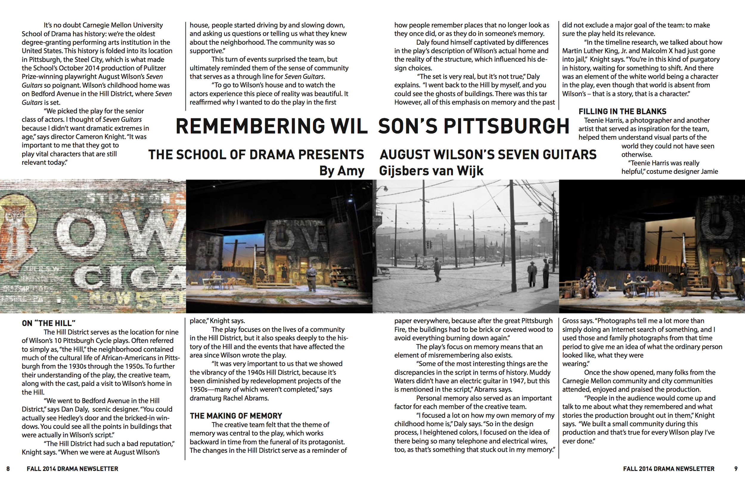Center Spread of my article about Carnegie Mellon University's  Seven Guitars production (2014)