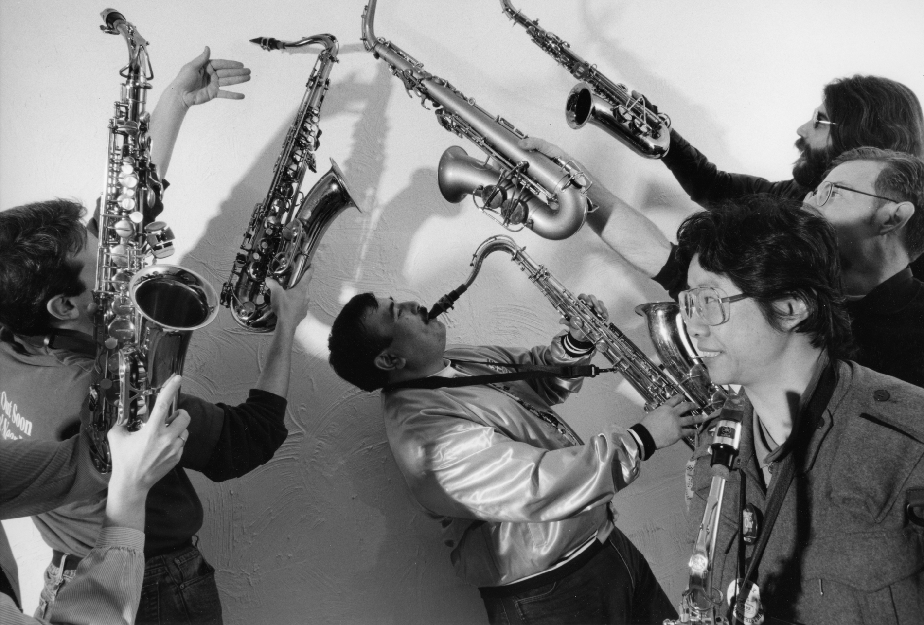 Saxophonists Ruben Estrada and Lynda Chen were among the 140 members of the Lesbian and Gay Bands of America to perform at the Inauguration of President Bill Clinton in 1993.