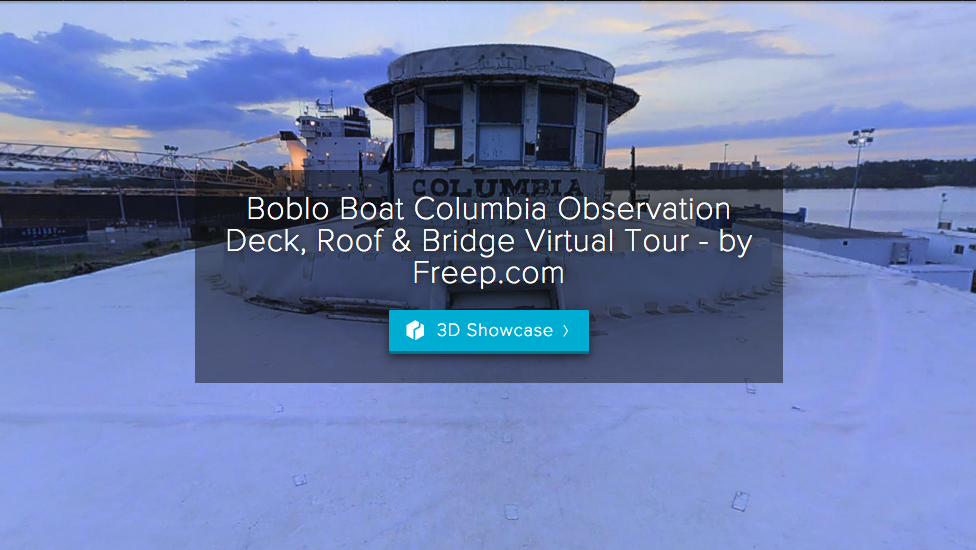 And, this is my mega 3D virtual tour -- made from nearly 1500 scans this virtual tour explores the outside of the boat's hull, the engine room below deck, all three public decks and the roof of Detroit's beloved Boblo boat the SS Columbia.