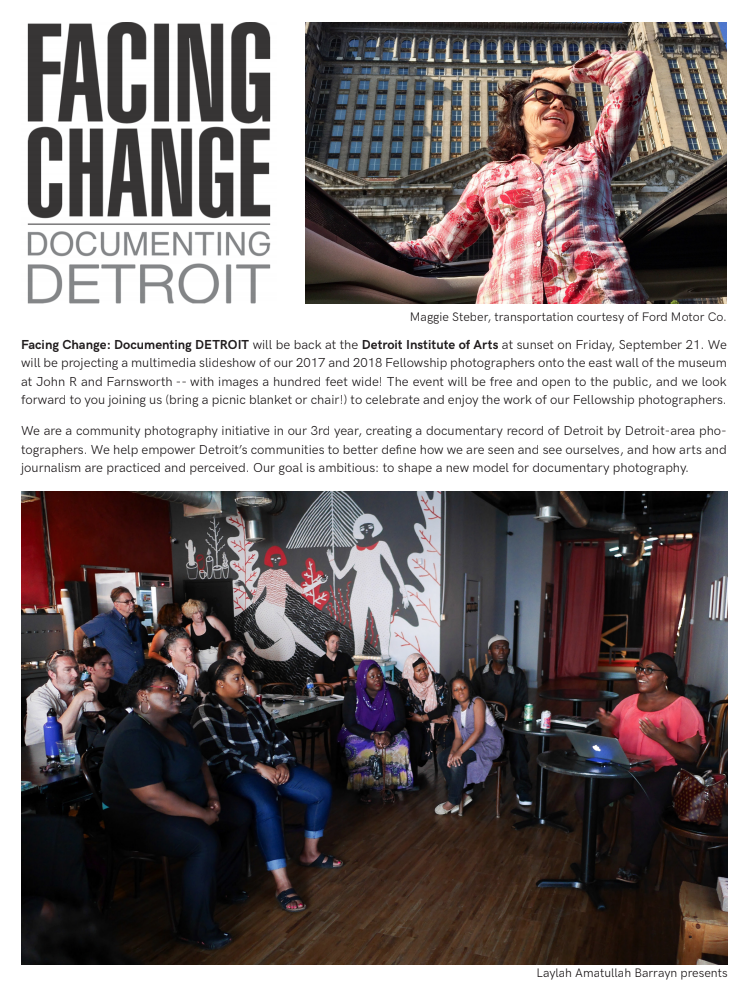 I was honored to be part of the committee to select the 2018 class of fellows for Documenting Detroit. I look forward to their work and seeing them in action.