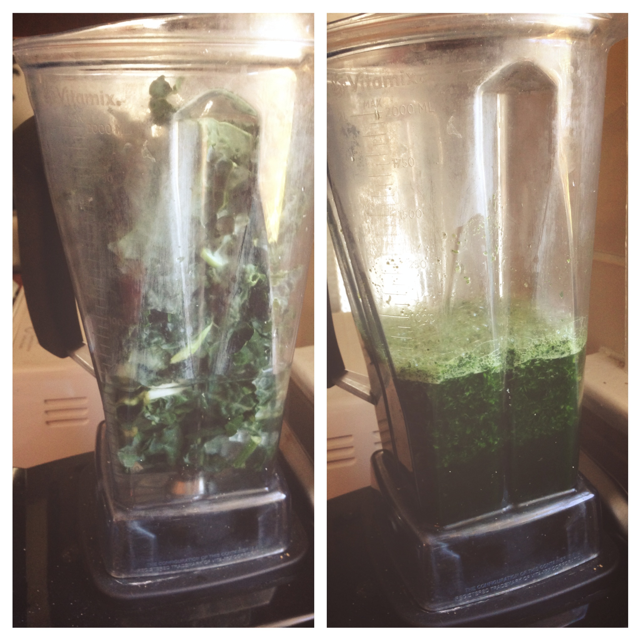 We use the organic tuscan kale from Trader Joes. It's already washed and chopped, saving me a lot of time and making this drink doable on a day to day basis.