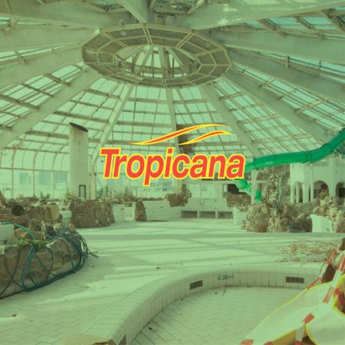 Tropicana   Het voormalige tropisch zwemparadijs aan de Maasboulevard in Rotterdam staat er sinds het faillissement in 2010 leeg en onverzorgd bij. Food For Thought onderzocht de mogelijkheden voor (tijdelijke) herontwikkeling en invulling van dit bijzondere gebouw.