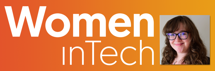 Women in Tech logo (white) on an orange gradient background, with an image of Ashley Smith