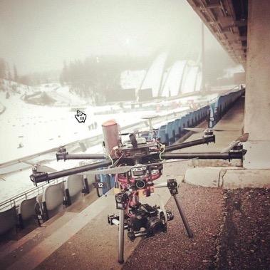 Winter photo shoot with Skycat X68 launcher, Lahti Ski Games 2015. Custom hexacopter by O-P Mahrberg / Virtual Worx.
