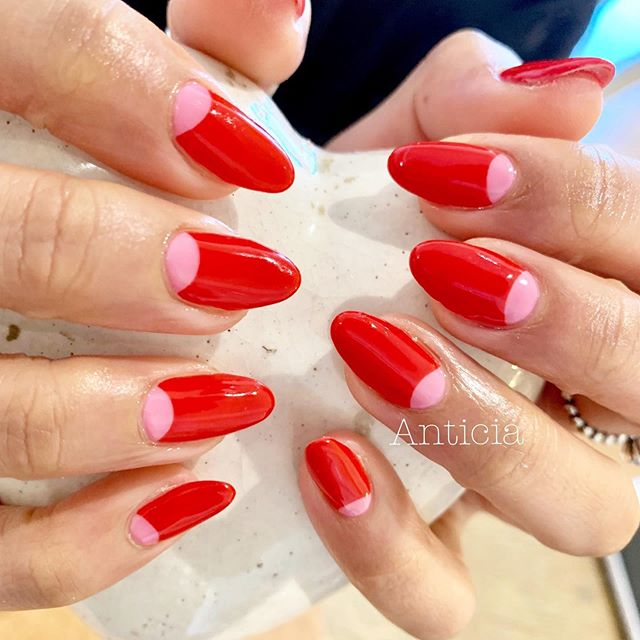 French nails with red and pink!  #Anticia #nails #anticianails #japanese #nailsalon #neutralbay #sydney #sydneynails #sydneynailart #weddingnails  #gelnails #nailart #naildesign #biosculpturegel #オーストラリア #シドニー #ネイルサロン #ネイルデザイン #ネイル #美甲 #美爪 #젤네일 #네일아트 #ネイリスト募集中