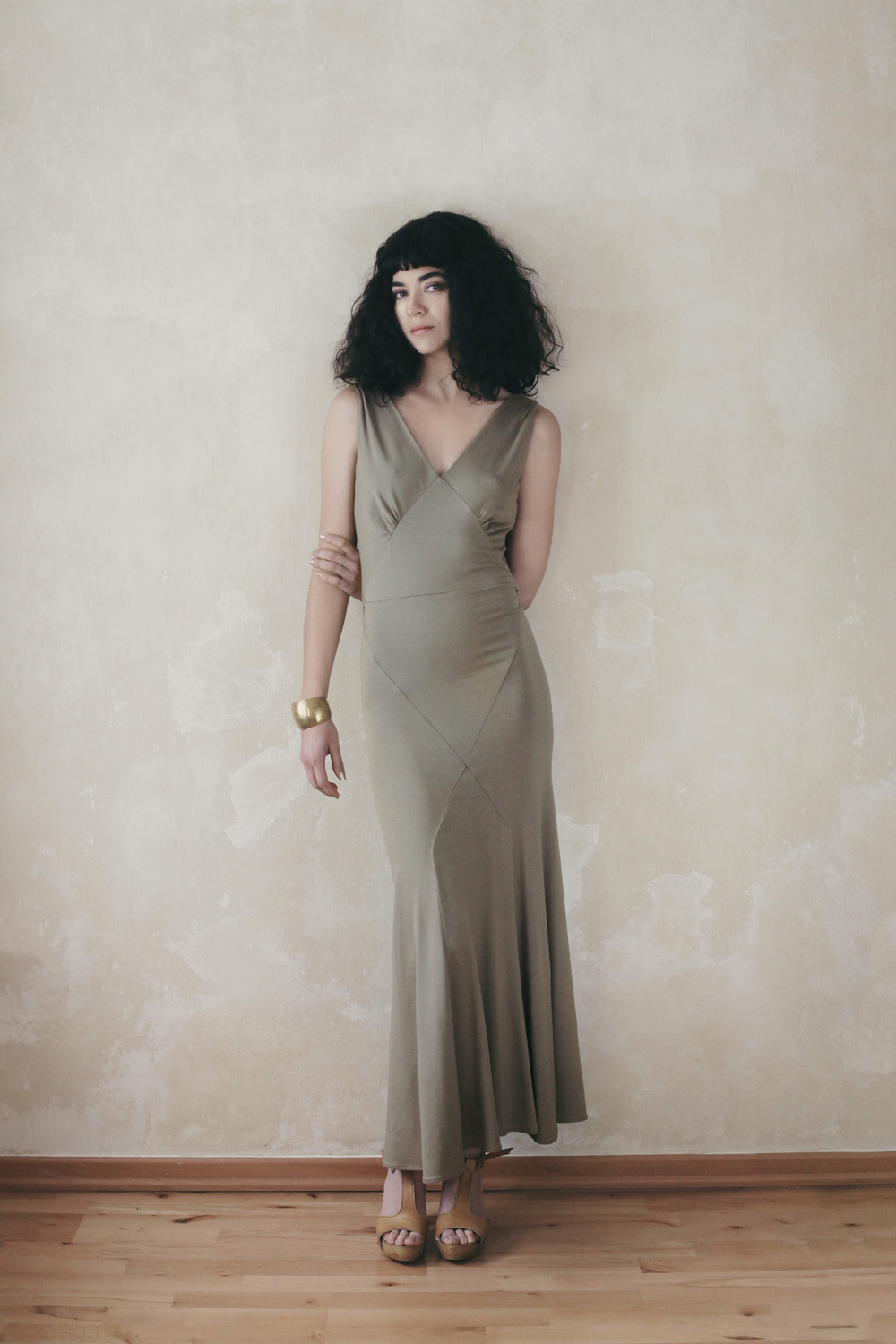 "Replicated 1930's Dress ""Series #1"" in Olive Beige colour see  more"
