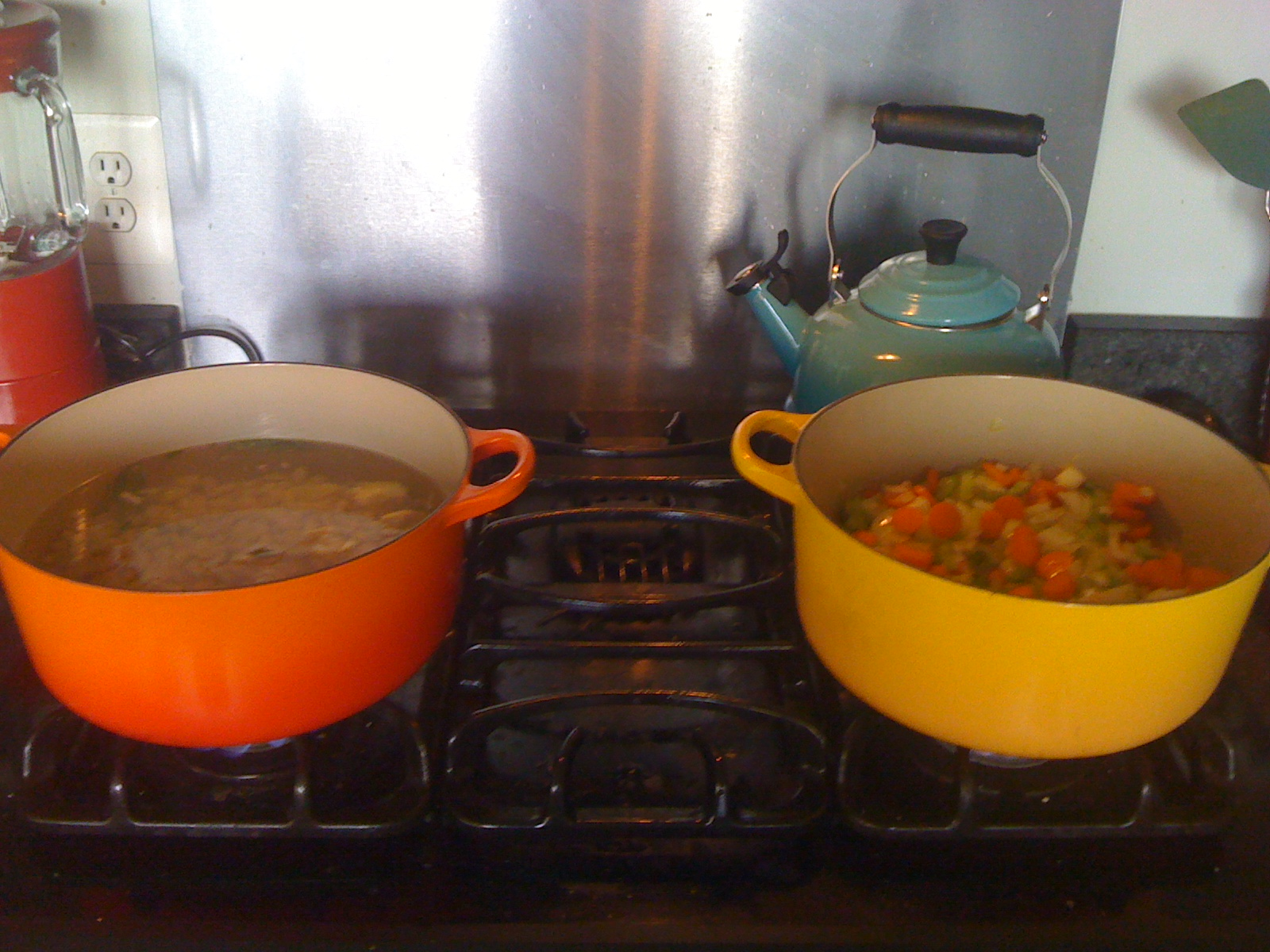 Chicken posole on the left, lentil on the right. Healthy, easy, affordable lunch and dinner for more than a week!