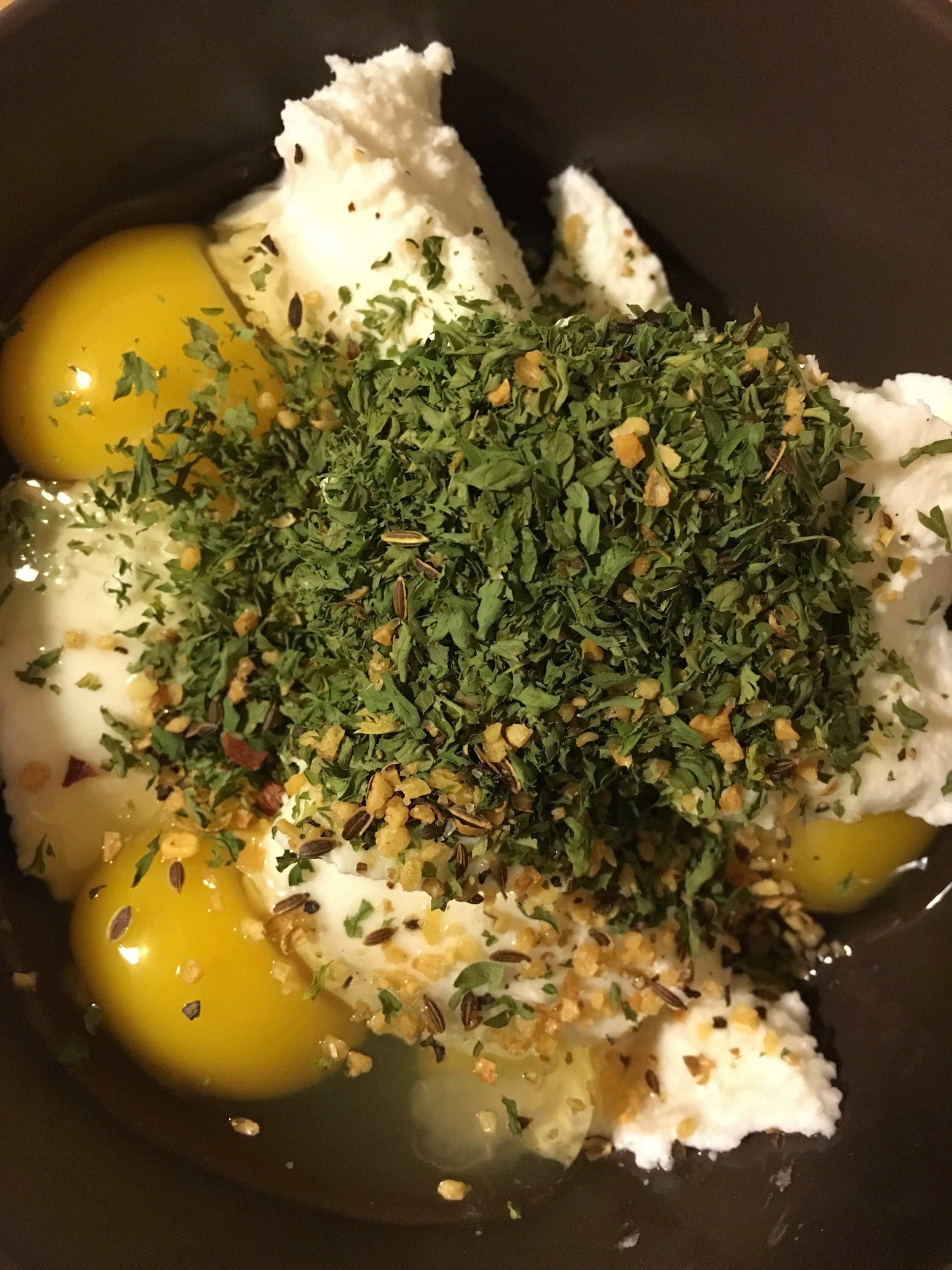 Ricotta Mixture: 3 eggs, 2 cups ricotta, basil, Mustard seed, oregano, salt, pepper, garlic