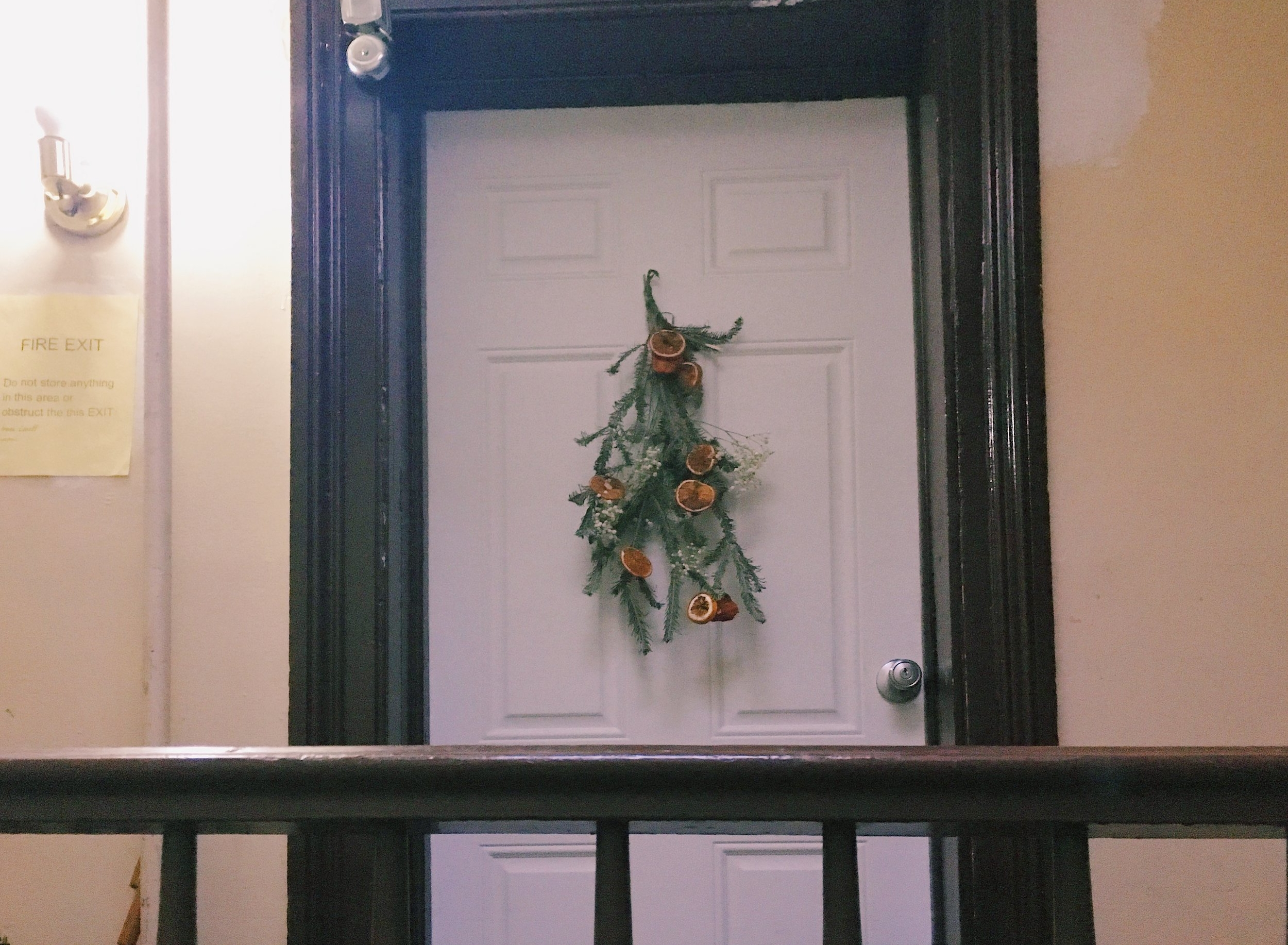 Festive AND it accentuates the fire exit sign.