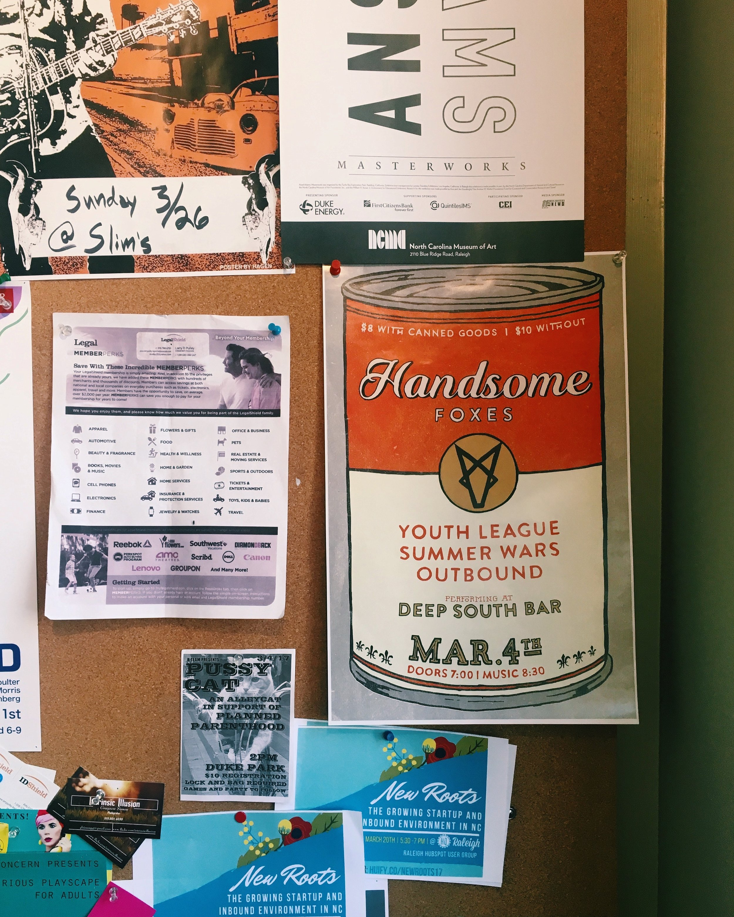 Snapshot of my favorite Handsome Foxes flyerup at a Raleigh coffee shop.